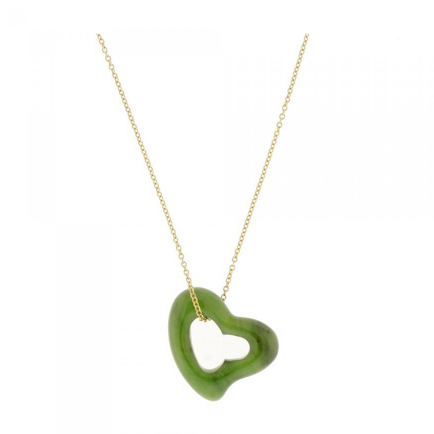 b6ccbfe5f4edf Elsa Peretti - Tiffany & Co. Elsa Peretti Large Jade Open Heart Necklace