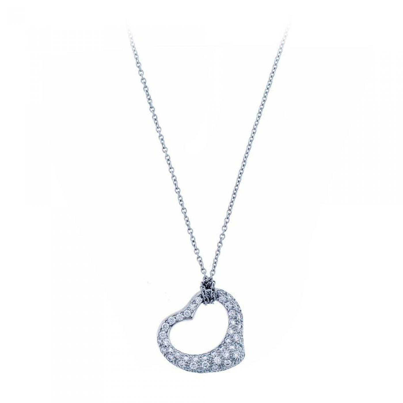 dafe5cf9b20b3 Tiffany   Co. Elsa Peretti Open Heart Diamond Platinum Pendant