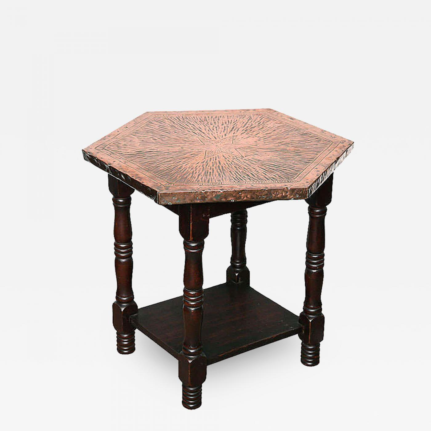 English Arts and Crafts Hammered Copper Table