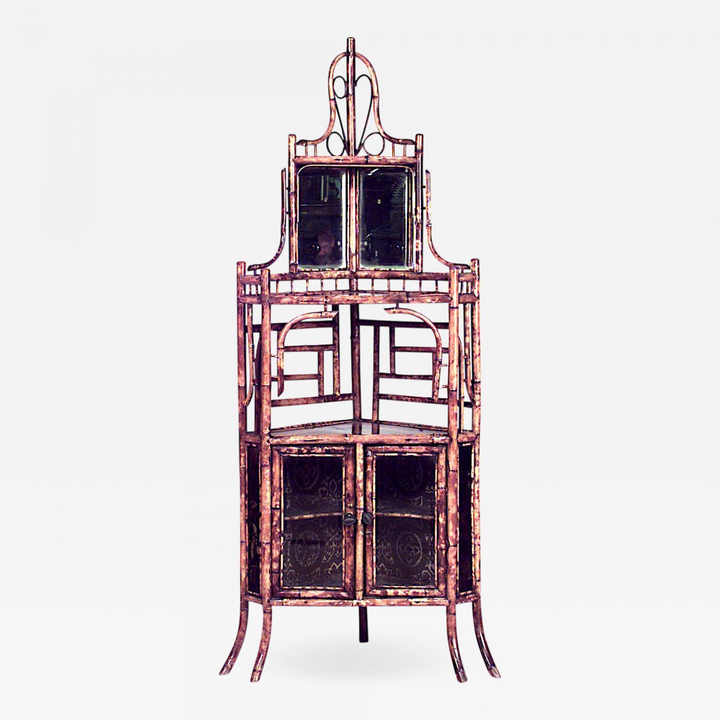 Listings / Furniture / Case Pieces U0026 Storage / Cabinets · English Victorian Bamboo  Corner Cabinet
