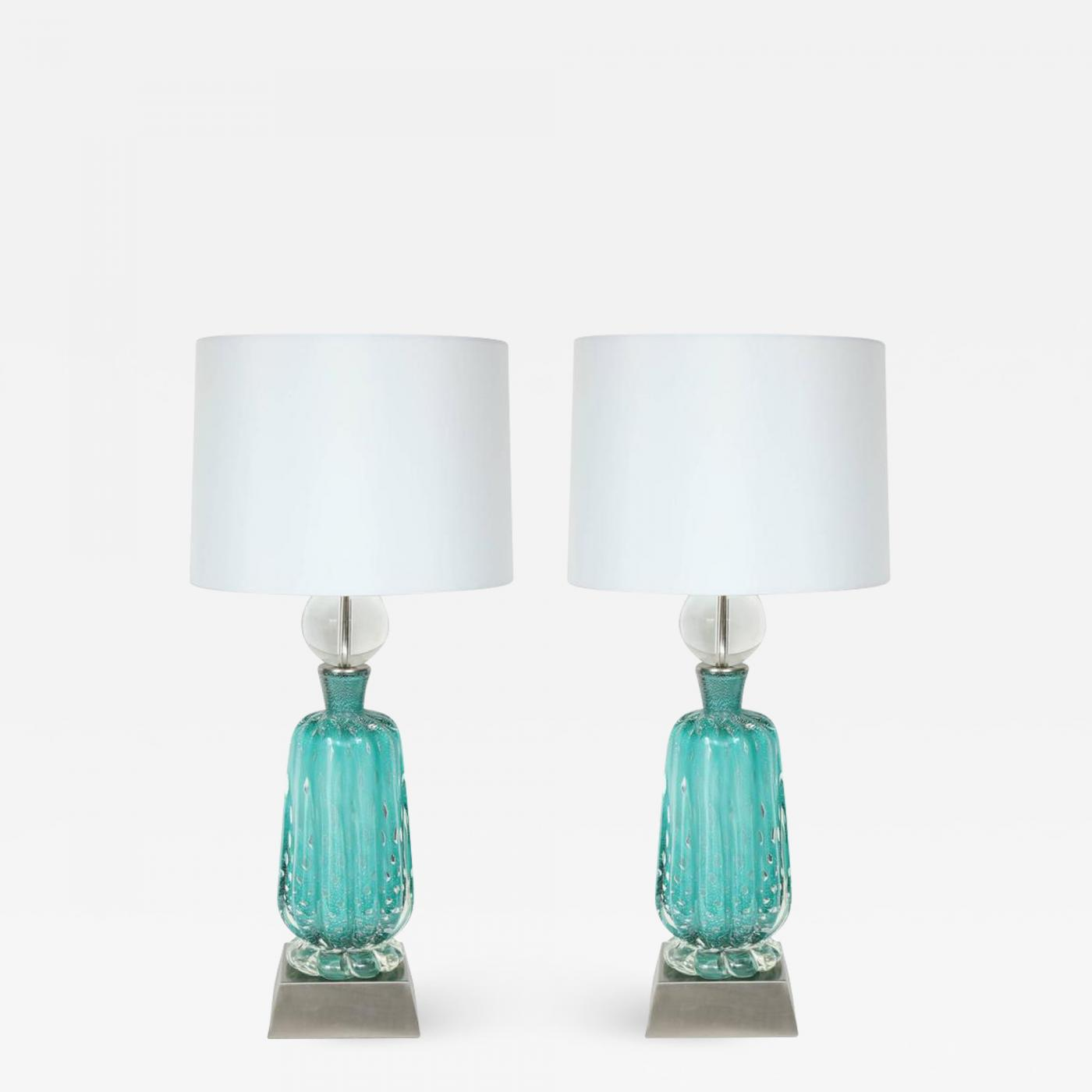 Picture of: Ercole Barovier Barovier Turquoise Murano Glass Lamps