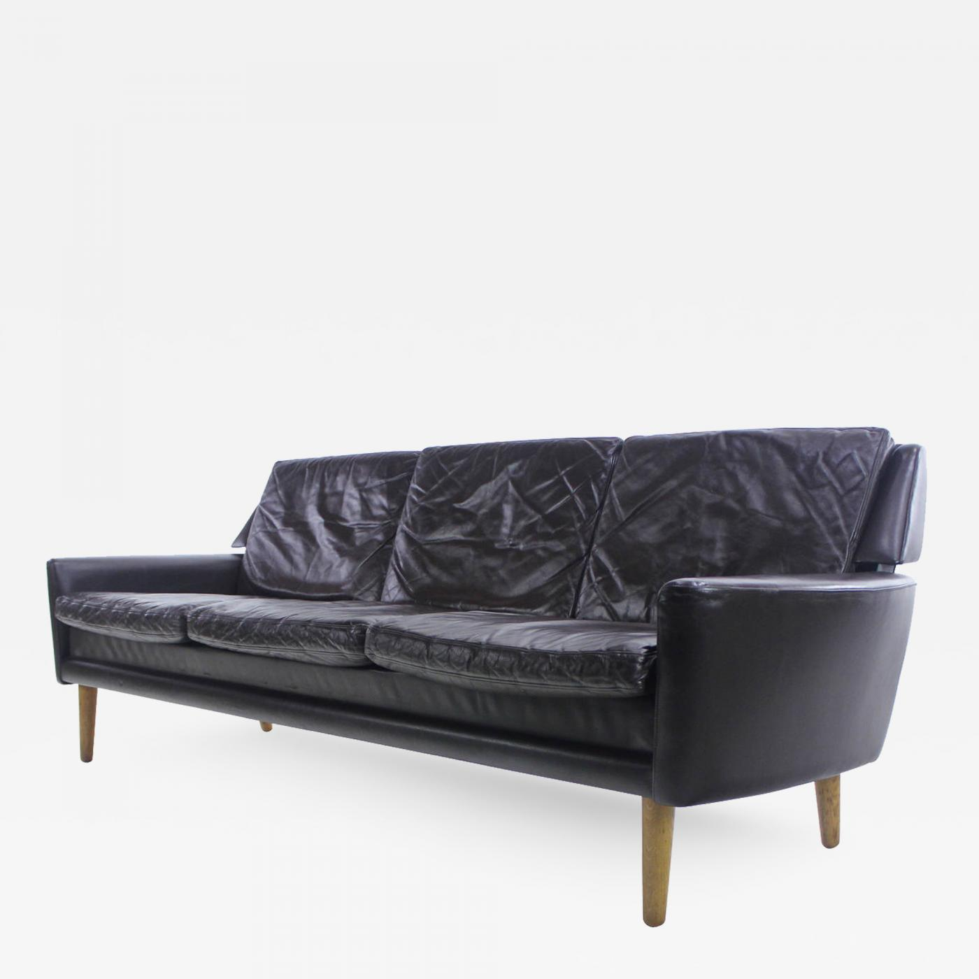Erik Wørts - Danish Modern Leather Sofa Designed by Erik Worts