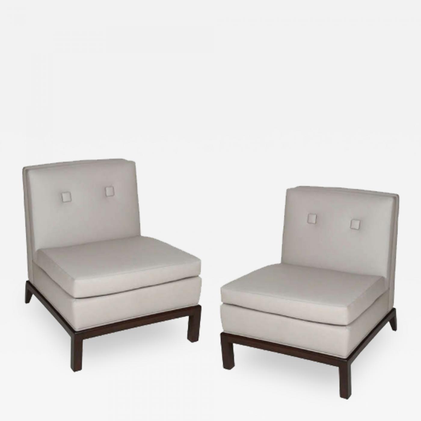 Peachy Everett Sebring Pair Of Custom Leather Upholstered Slipper Chairs By Everett Sebring Dailytribune Chair Design For Home Dailytribuneorg