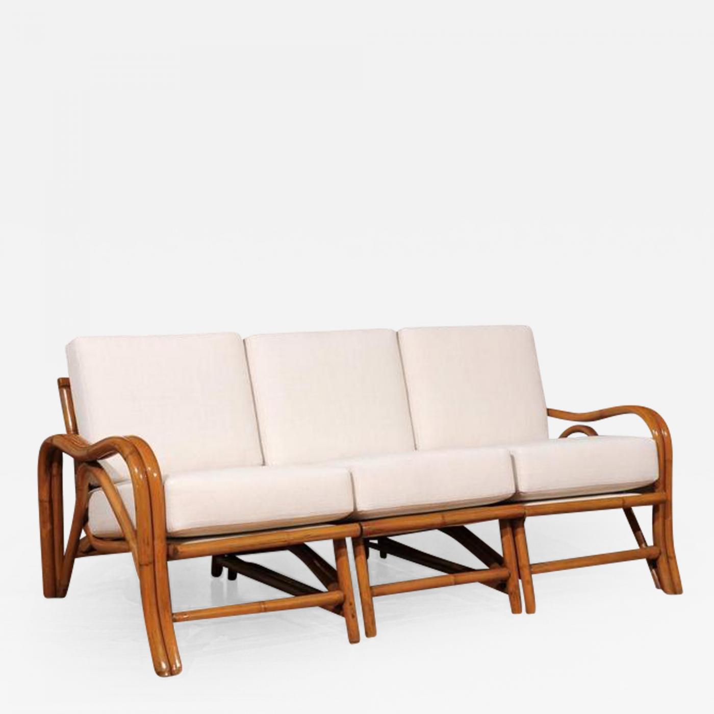 Fantastic restored vintage modern rattan three seat sofa for Modern rattan sofa