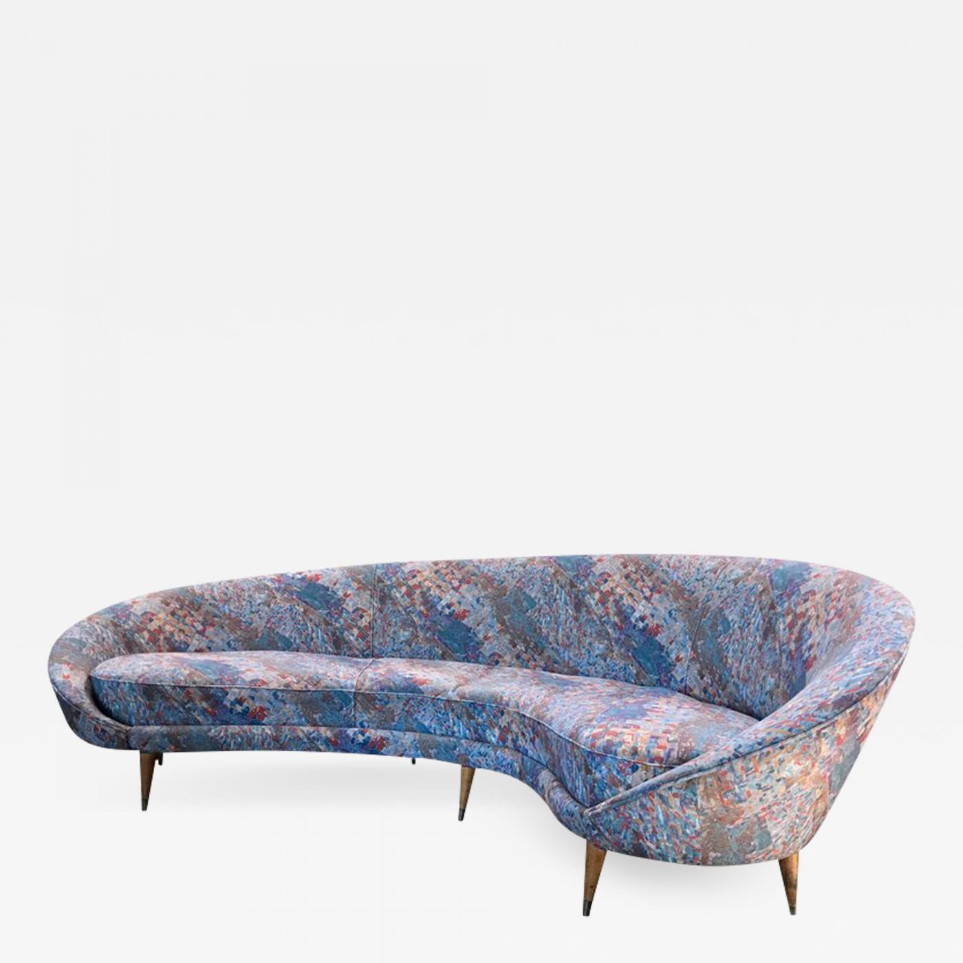 Federico Munari - Federico Munari, 1958 Mid-Century Italian Large Curved  Sofa