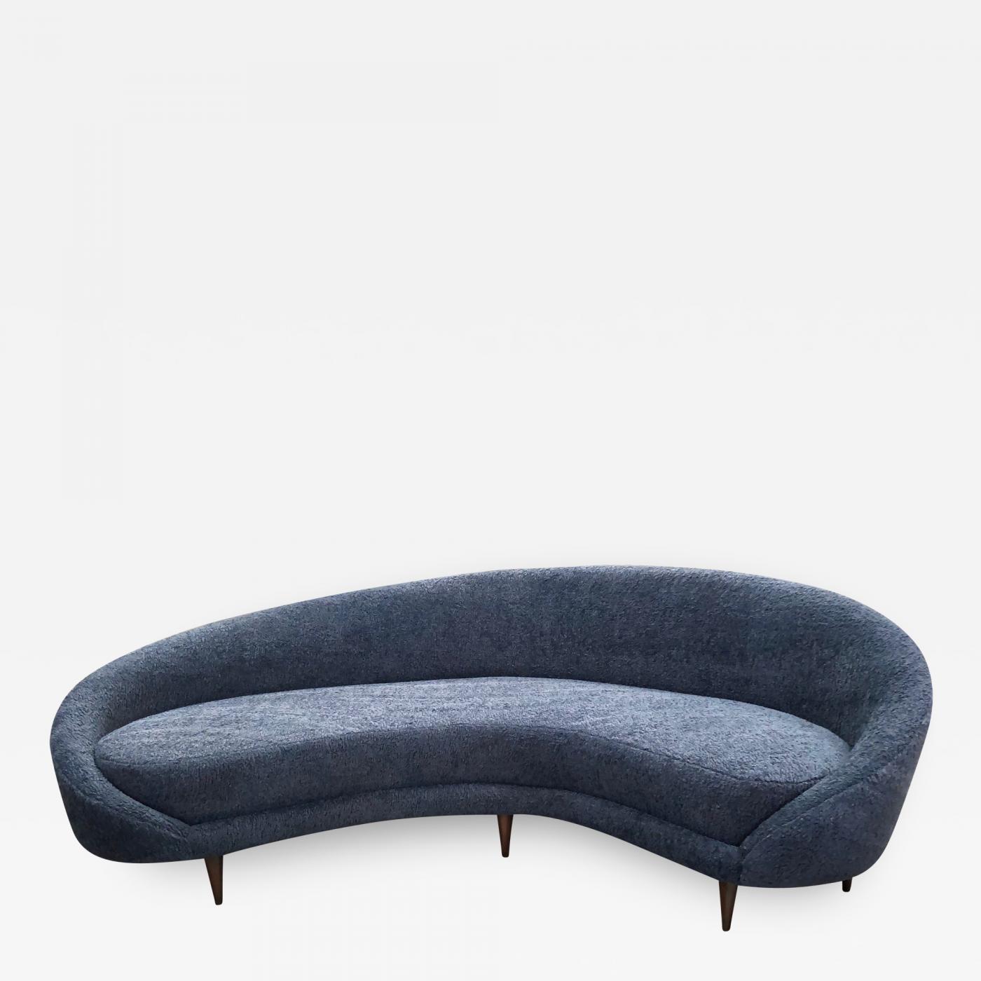 Federico Munari - Federico Munari Mid-Century Italian large curved sofa,  1950s - Re-Upholstery