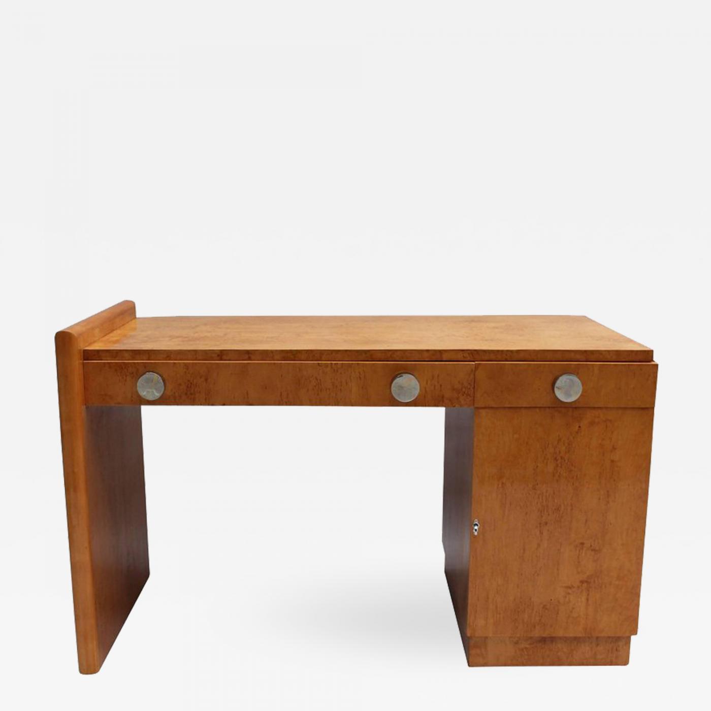 Astonishing Fine French Art Deco Birch Desk With Chrome Details Download Free Architecture Designs Scobabritishbridgeorg