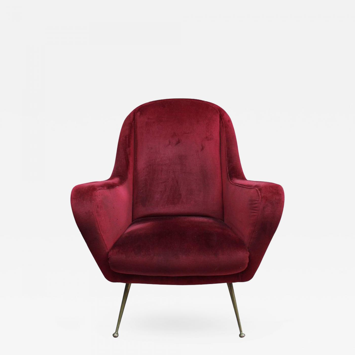 Phenomenal A Fine 1970S Italian Red Velvet Armchair With Brass Legs Theyellowbook Wood Chair Design Ideas Theyellowbookinfo