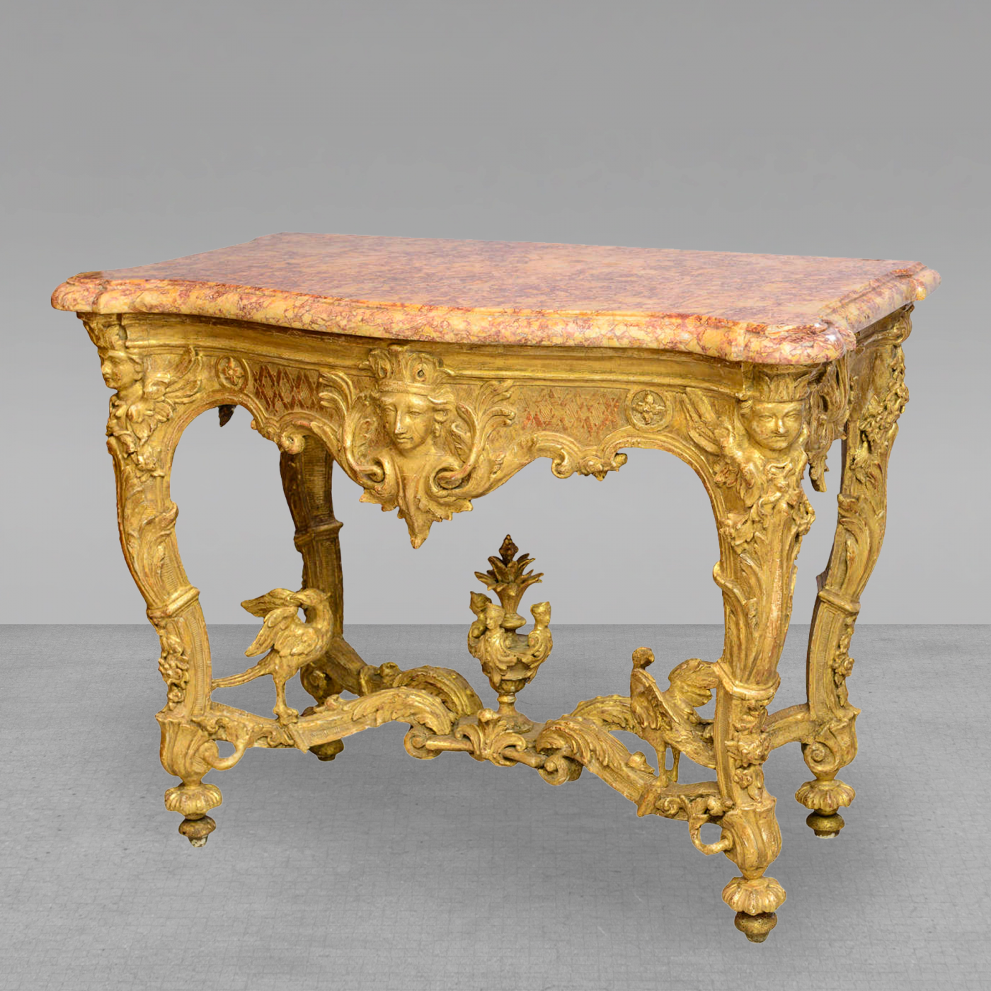 Listings / Furniture / Tables / Side Tables · Fine Regence Or Early Louis  XV Giltwood And Marble Top Console Table