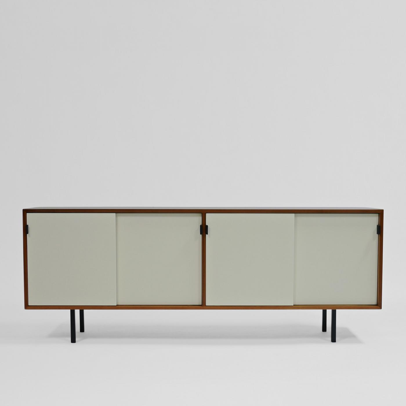 Florence Knoll Credenza in Walnut and White Lacquer by Florence