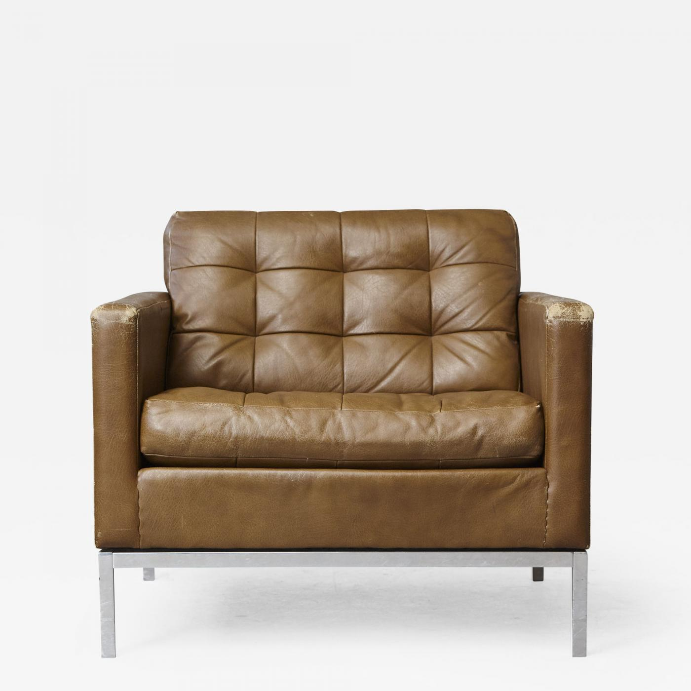 Awesome Florence Knoll Florence Knoll Tan Leather Button Tufted Lounge Chair 1970S Uwap Interior Chair Design Uwaporg