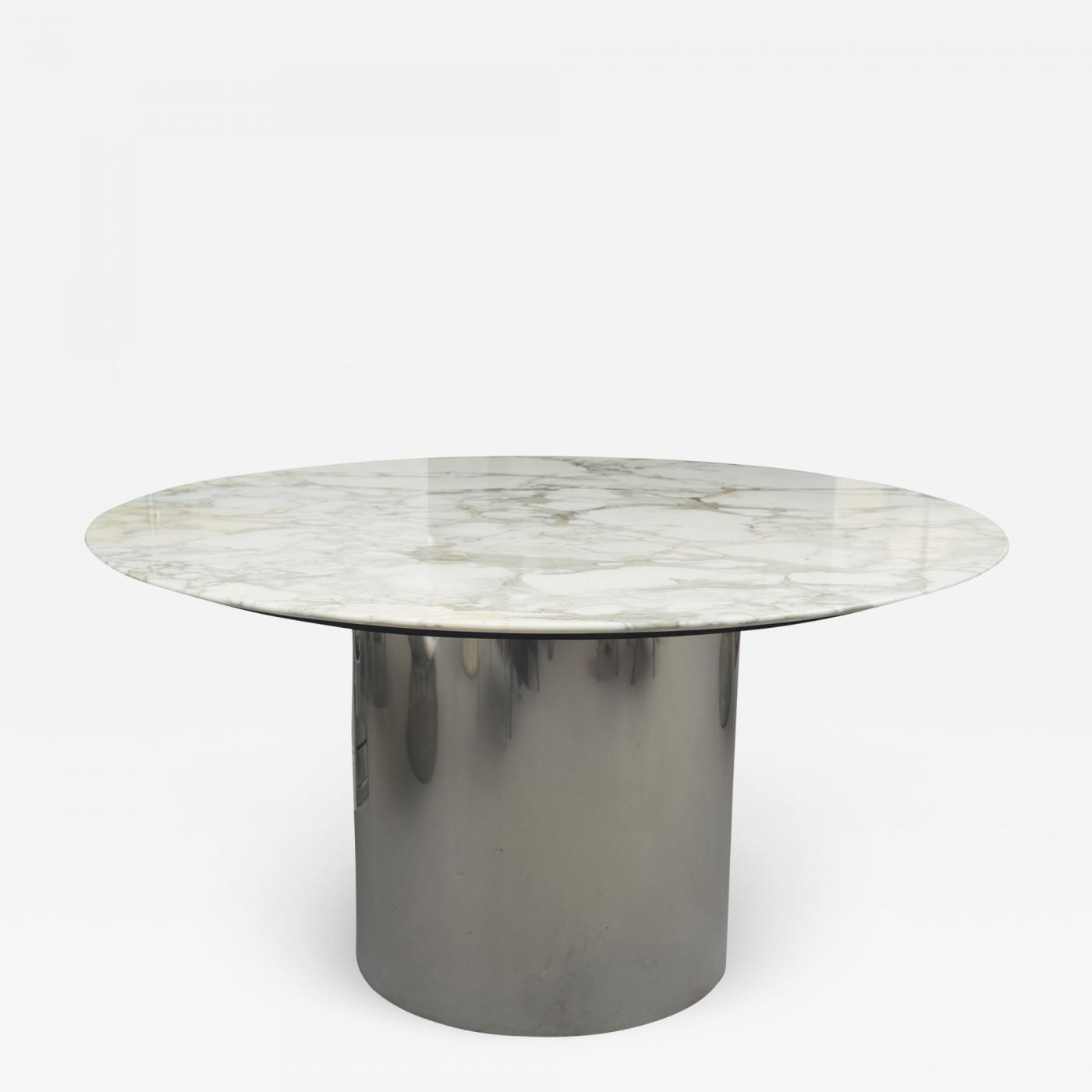 Chrome Drum Coffee Table: Knoll Arabescato Marble Top Knife Edge