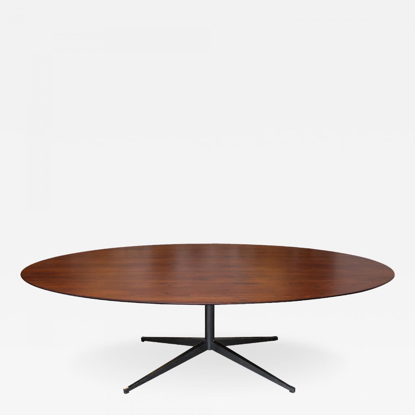 Florence Knoll Rosewood Oval Dining Table on Chrome Pedestal