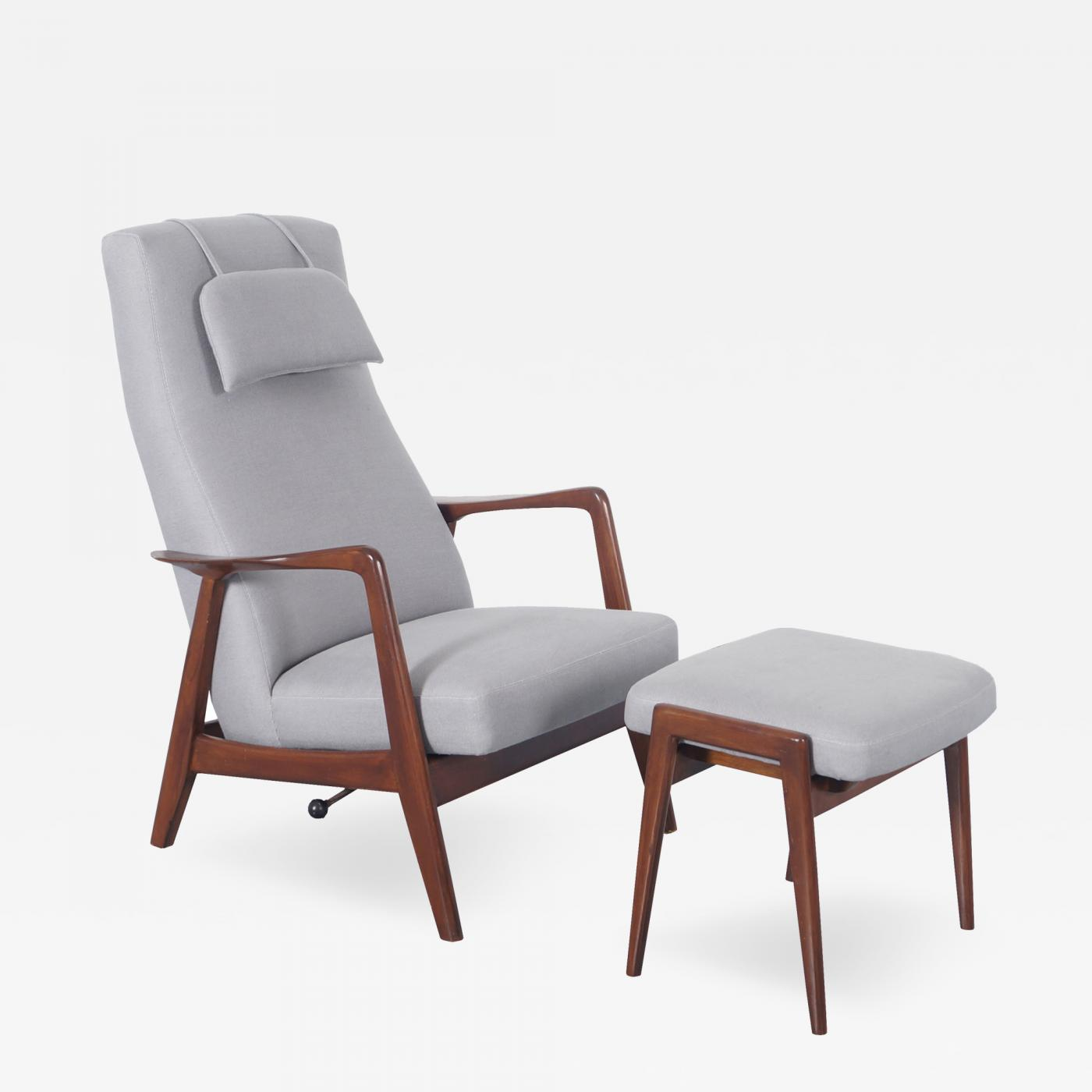 Folke Ohlsson Vintage Reclining Lounge Chair & Ottoman by Folke