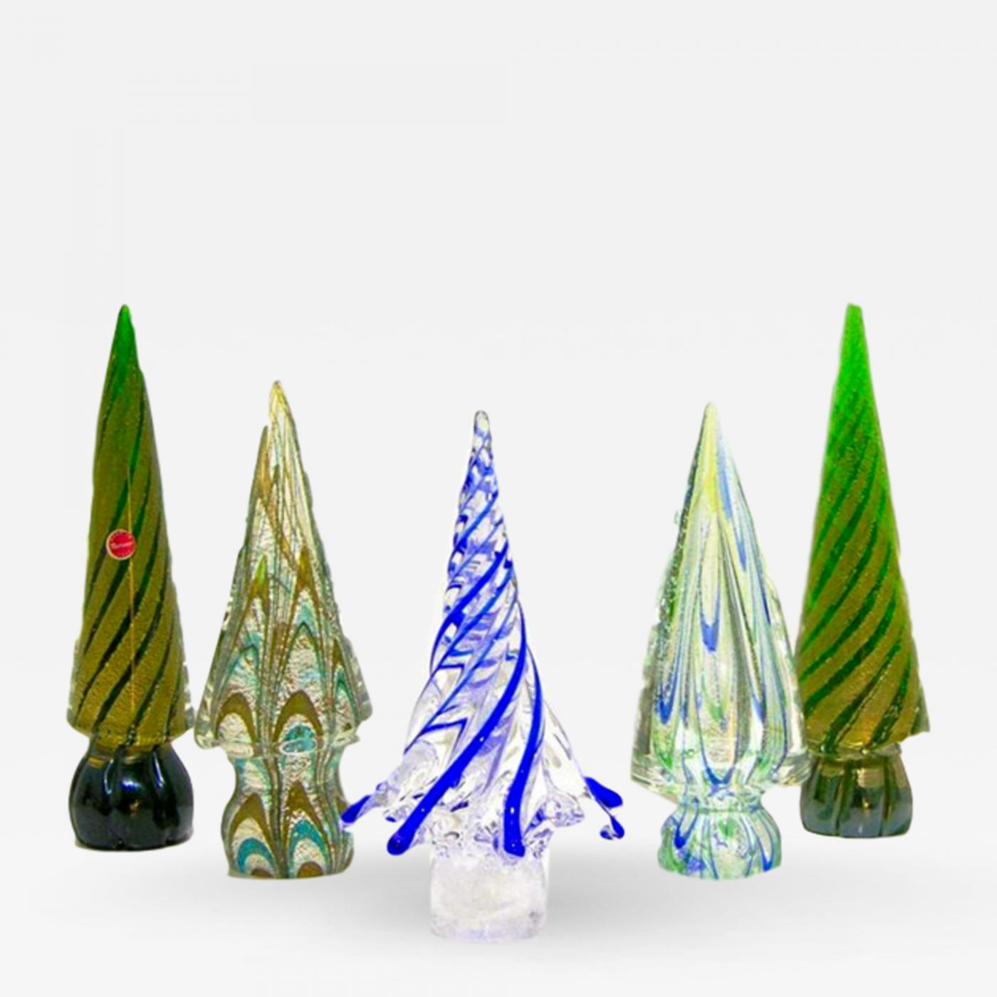 Formia Murano Vintage Italian Murano Glass Christmas Tree Sculptures By Formia