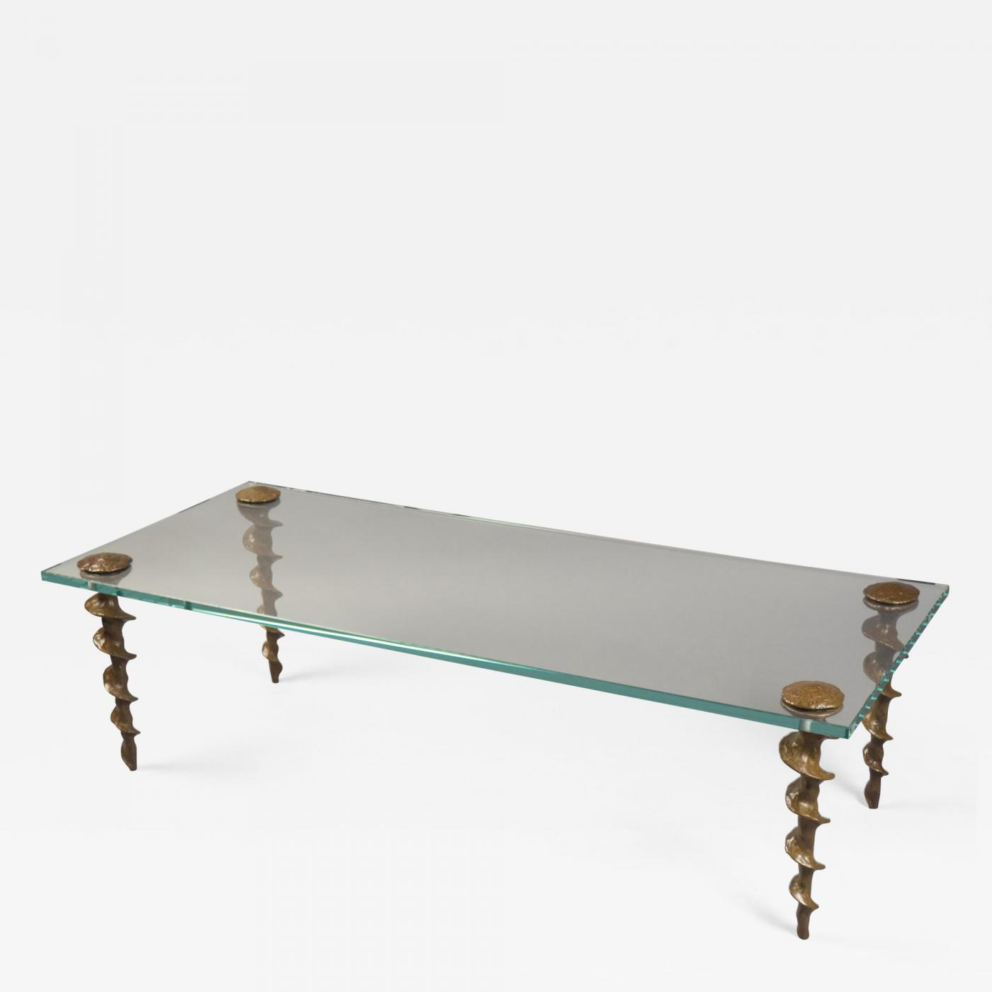 Glass And Bronze Coffee Table By Franck Evennou, France, 2018