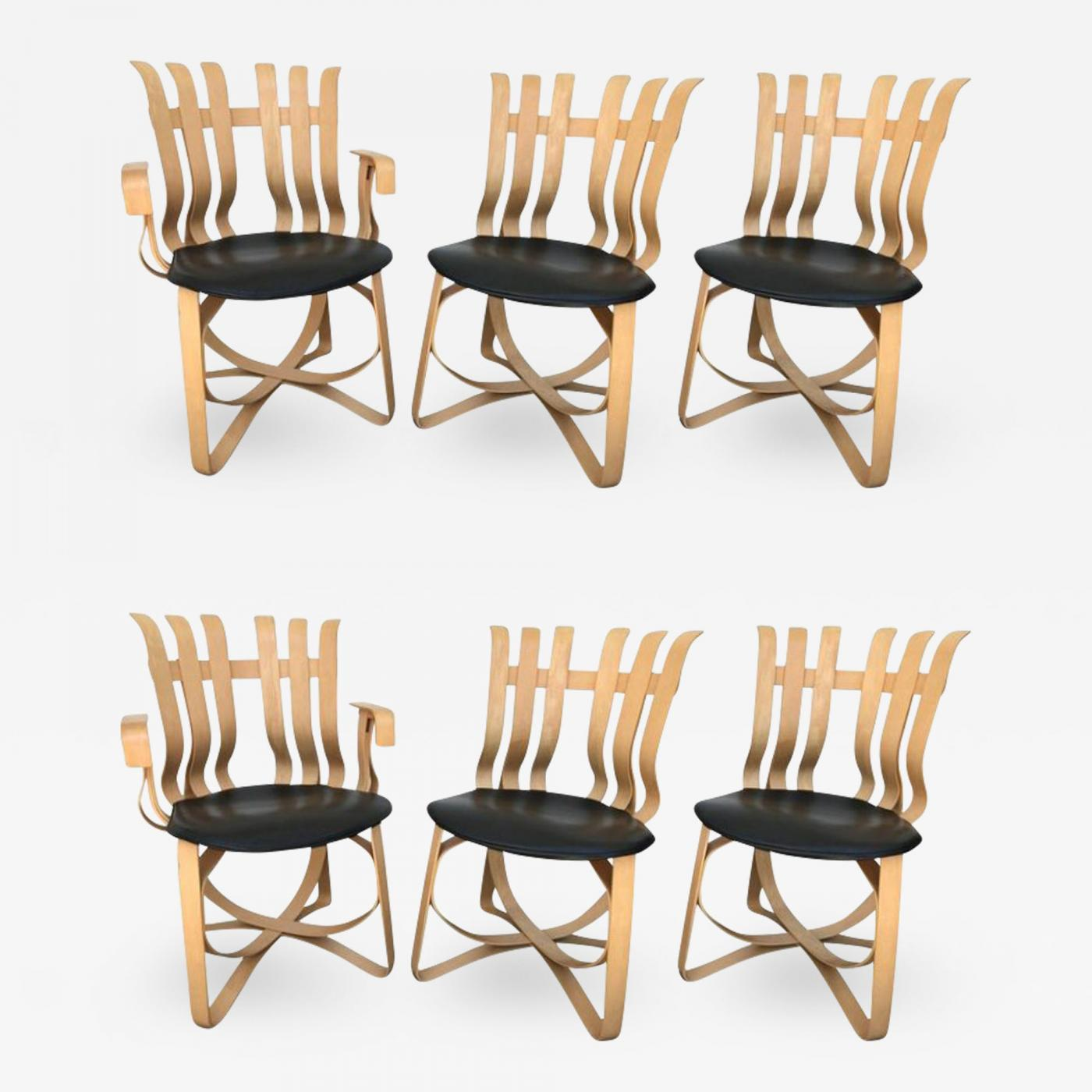 Frank Gehry - Set of Four Dining and Two Captain Hat Trick Chairs by Frank  Gehry for Knoll