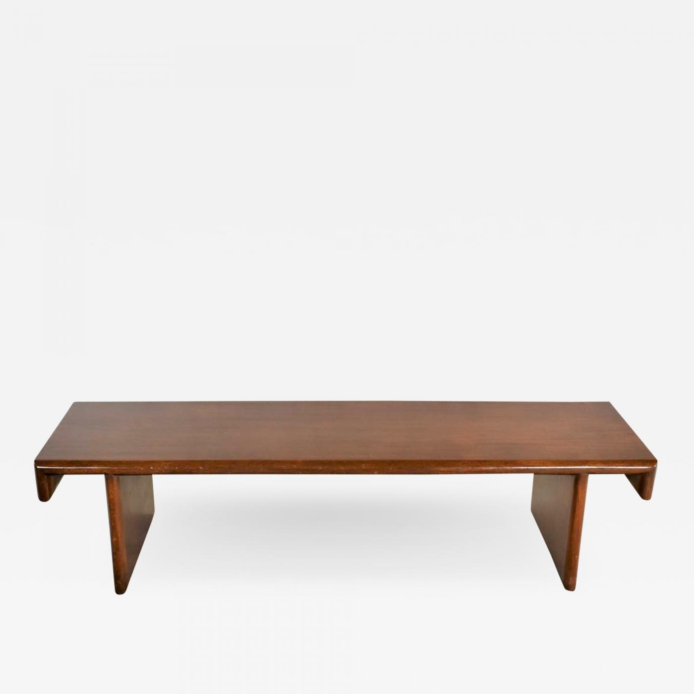 Frank Lloyd Wright Vintage Walnut Stained Mahogany Bench Coffee Table Style Of Frank Lloyd Wright