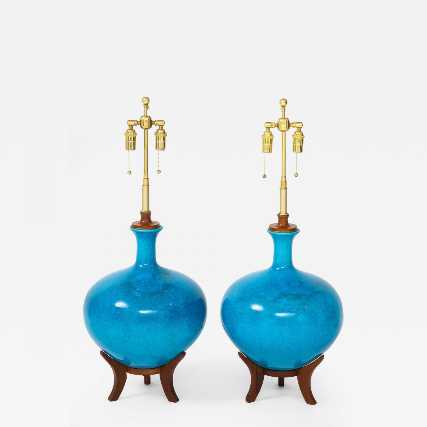 Tremendous Frederick G Cooper Fabulous Pair Of Mid Century Lamps With A Cerulean Blue Crackle Glaze Gmtry Best Dining Table And Chair Ideas Images Gmtryco