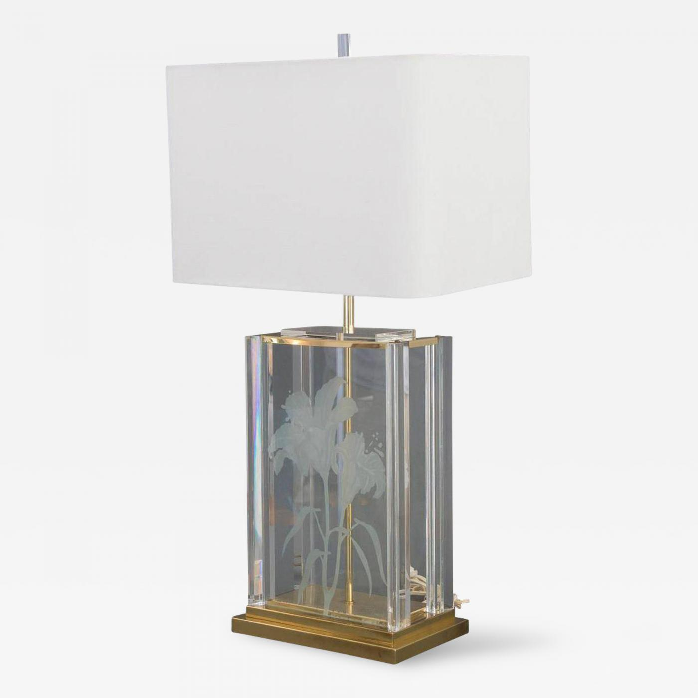 Mid Century Modern Etched Frosted Glass Lucite Brass Table Lamp
