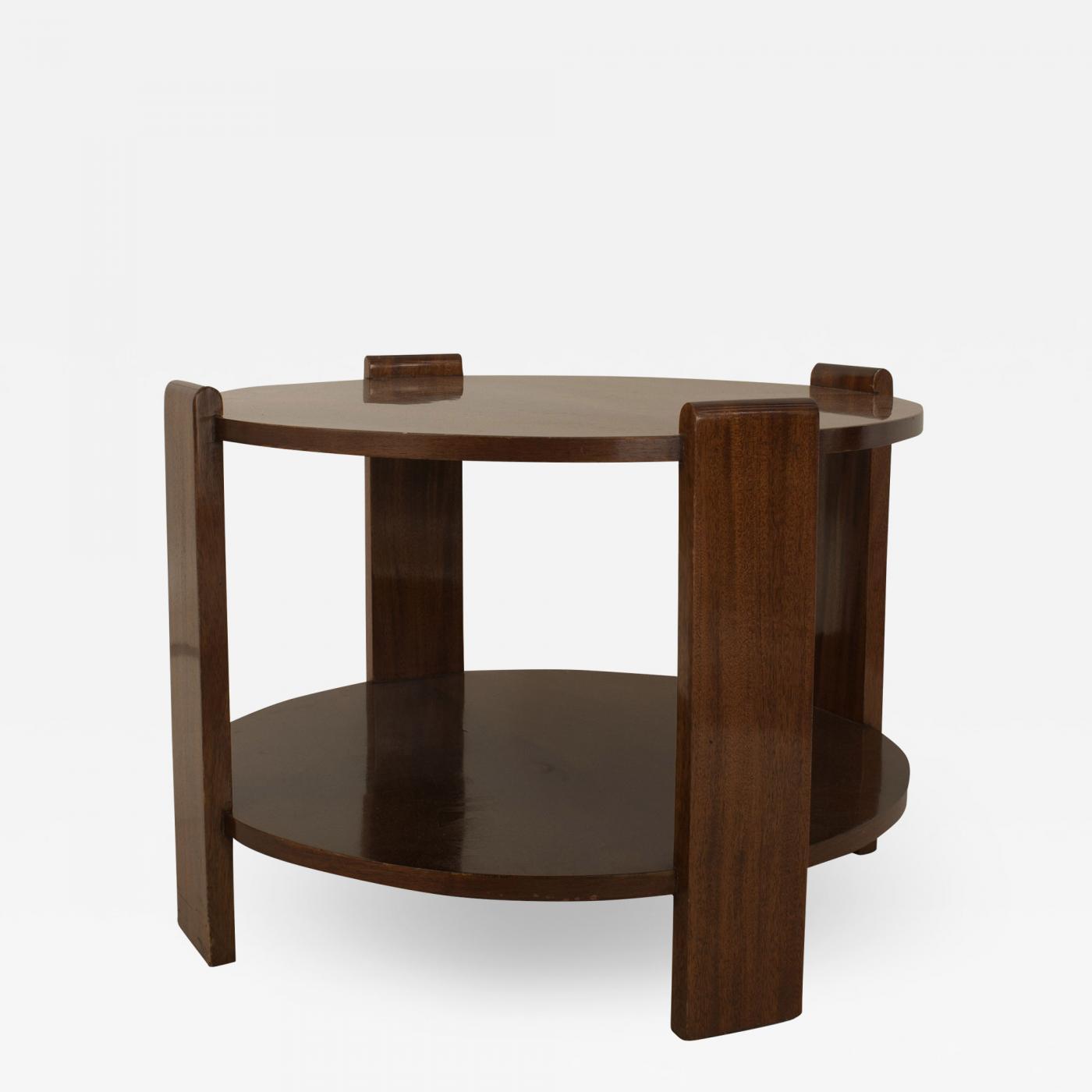 French Art Deco Round Mahogany Coffee Table