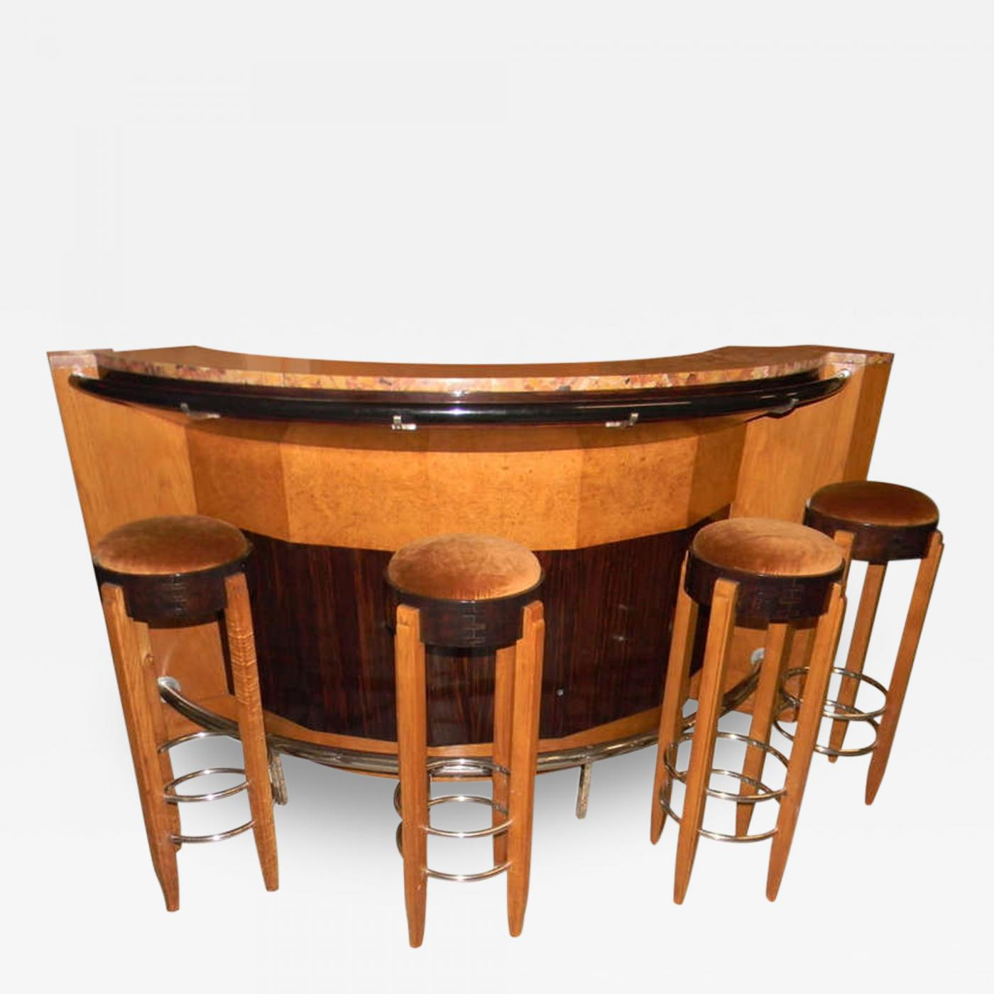 French Art Deco Stand behind Bar with Stools