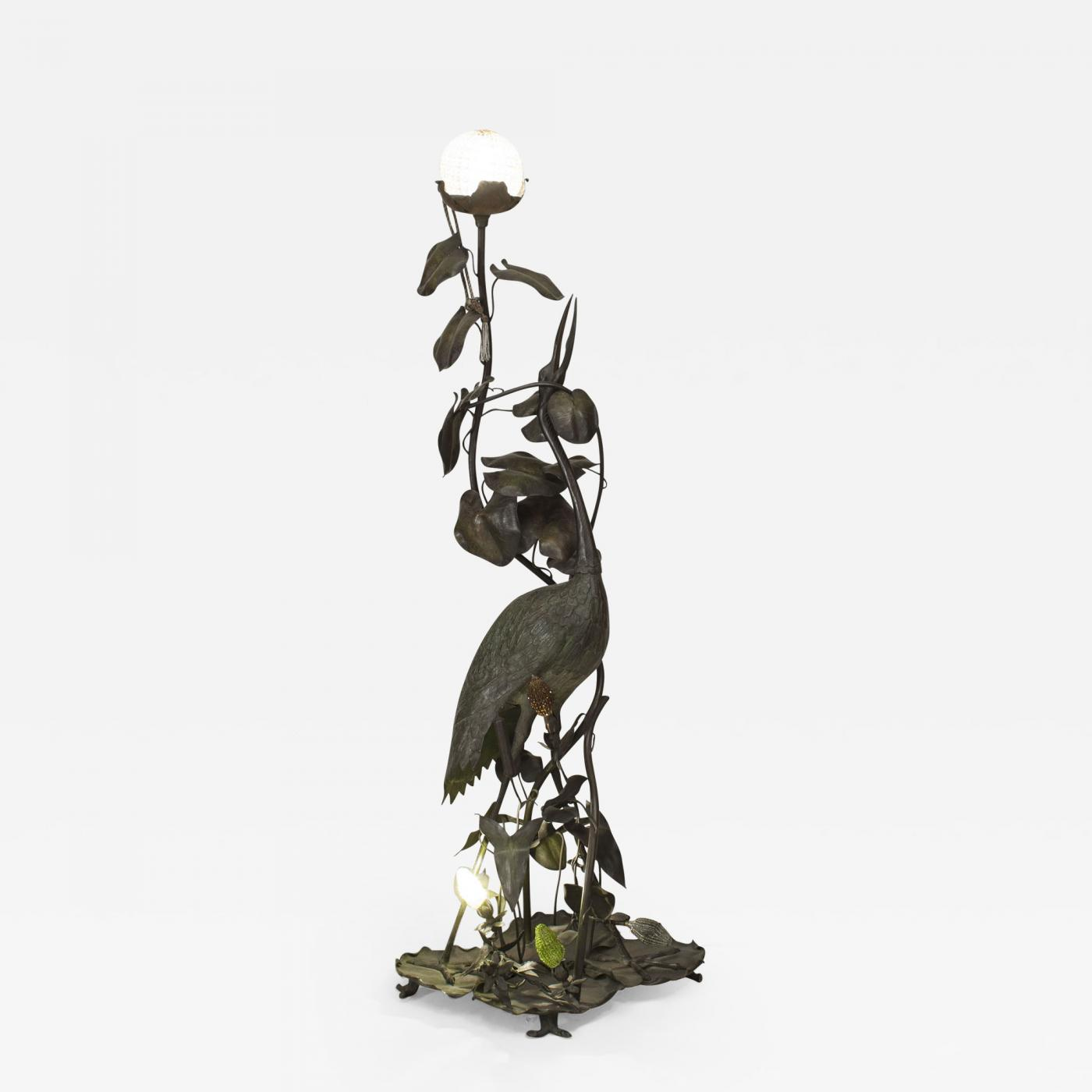 French Art Nouveau Floor Lamp of a Large Heron Figure