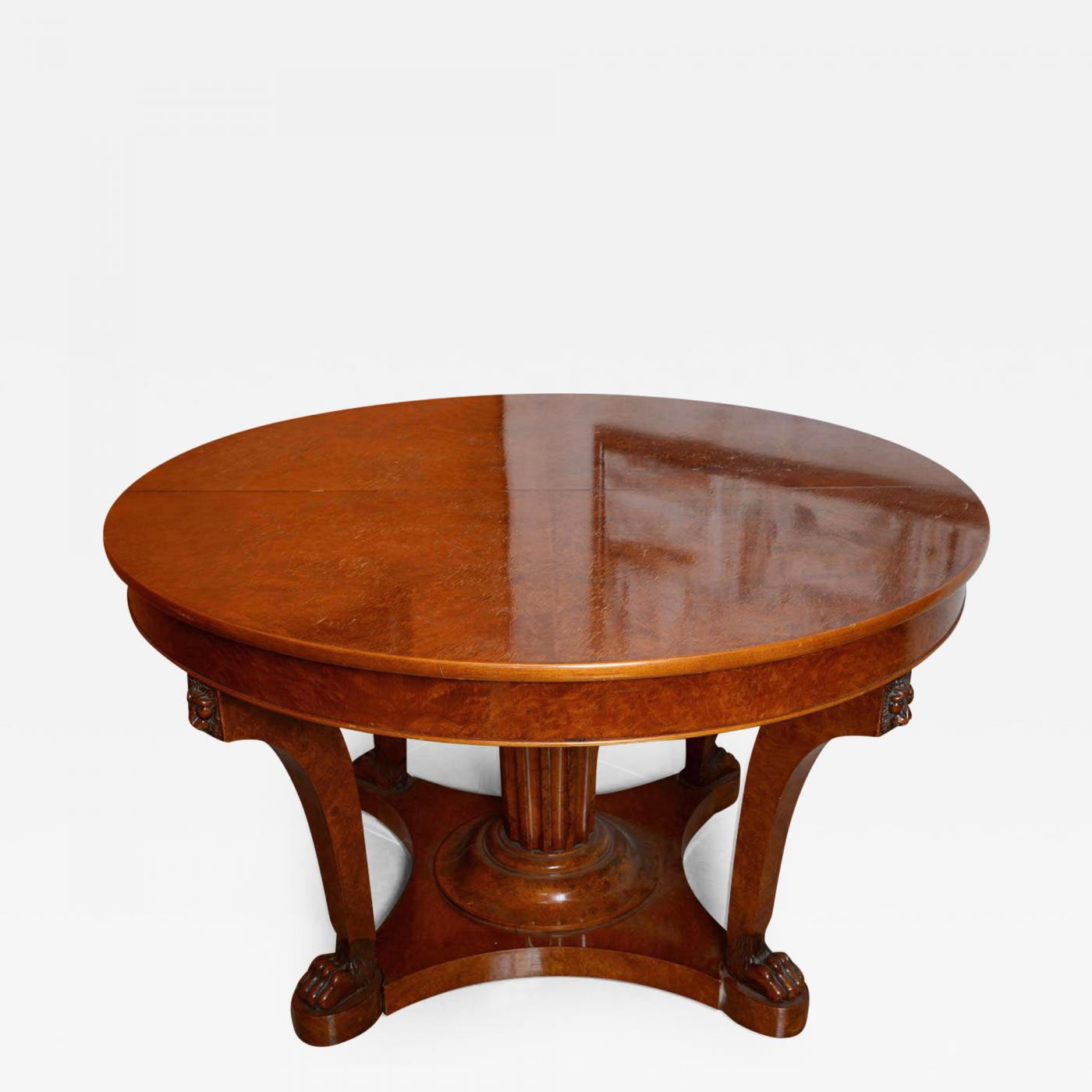 French Empire Revival Burled Walnut And Walnut Extension Dining Table - Burled walnut dining table
