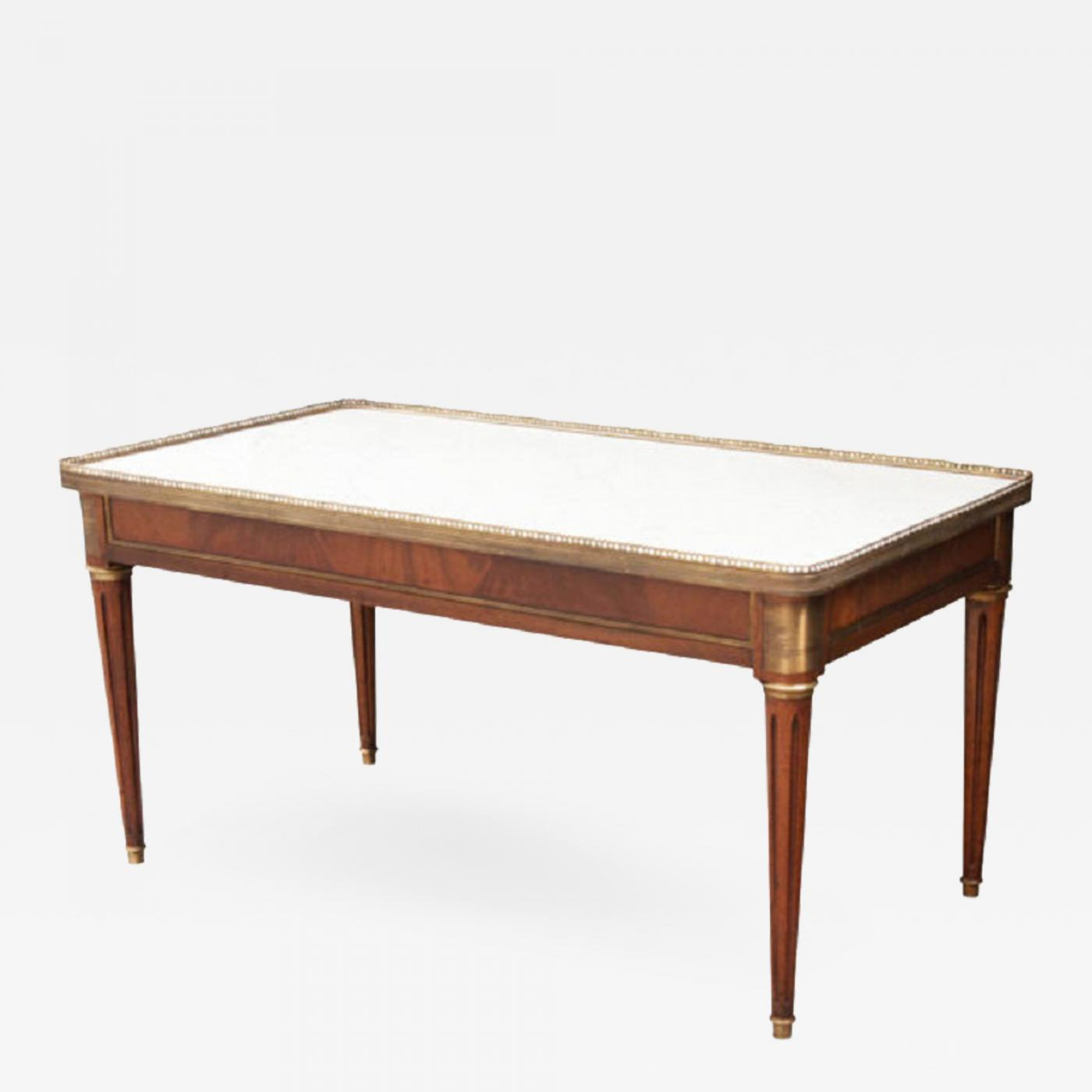 French Mahogany Louis Xvi Style Coffee Table With Marble Top