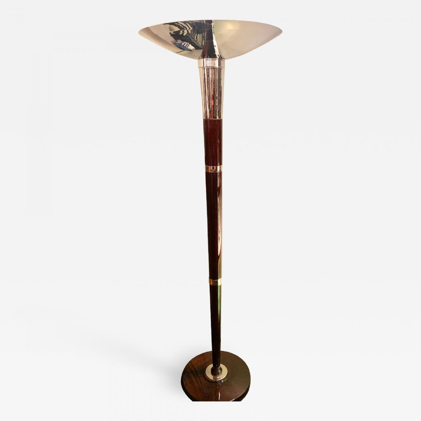 French Style Art Deco Floor Lamp Torchiere Wood And Chrome