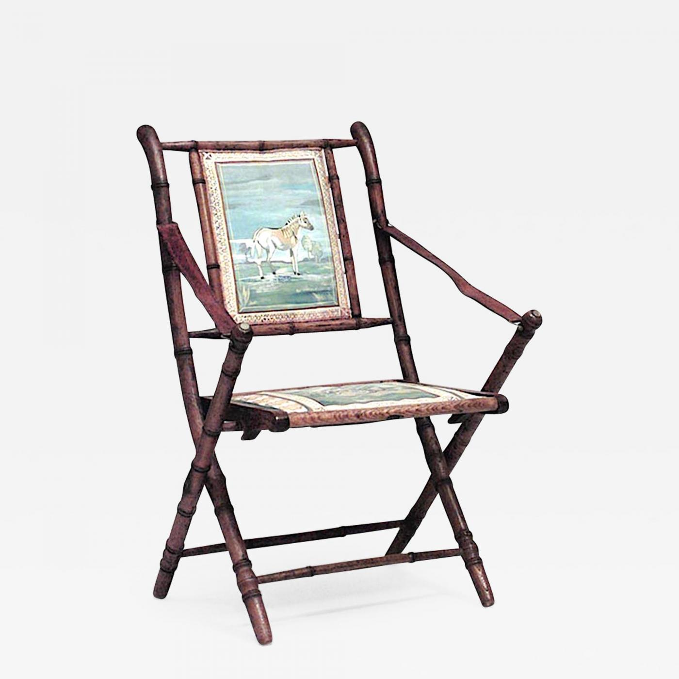 Super French Victorian Oak Faux Bamboo Campaign Design Folding Arm Chair Caraccident5 Cool Chair Designs And Ideas Caraccident5Info