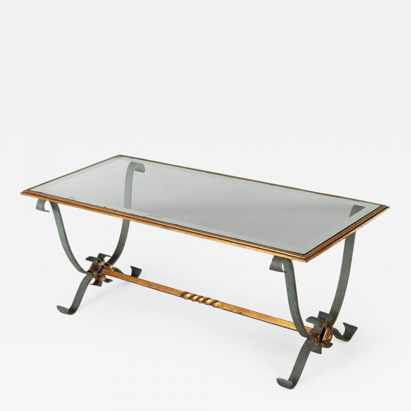 - French Vintage Iron And Glass Coffee Table