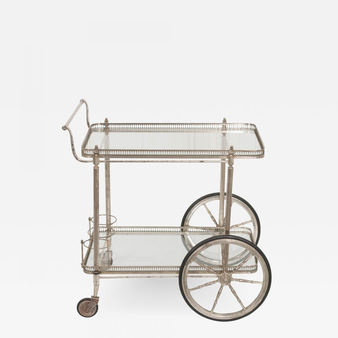 French Vintage Neoclassical Silver Bar Cart