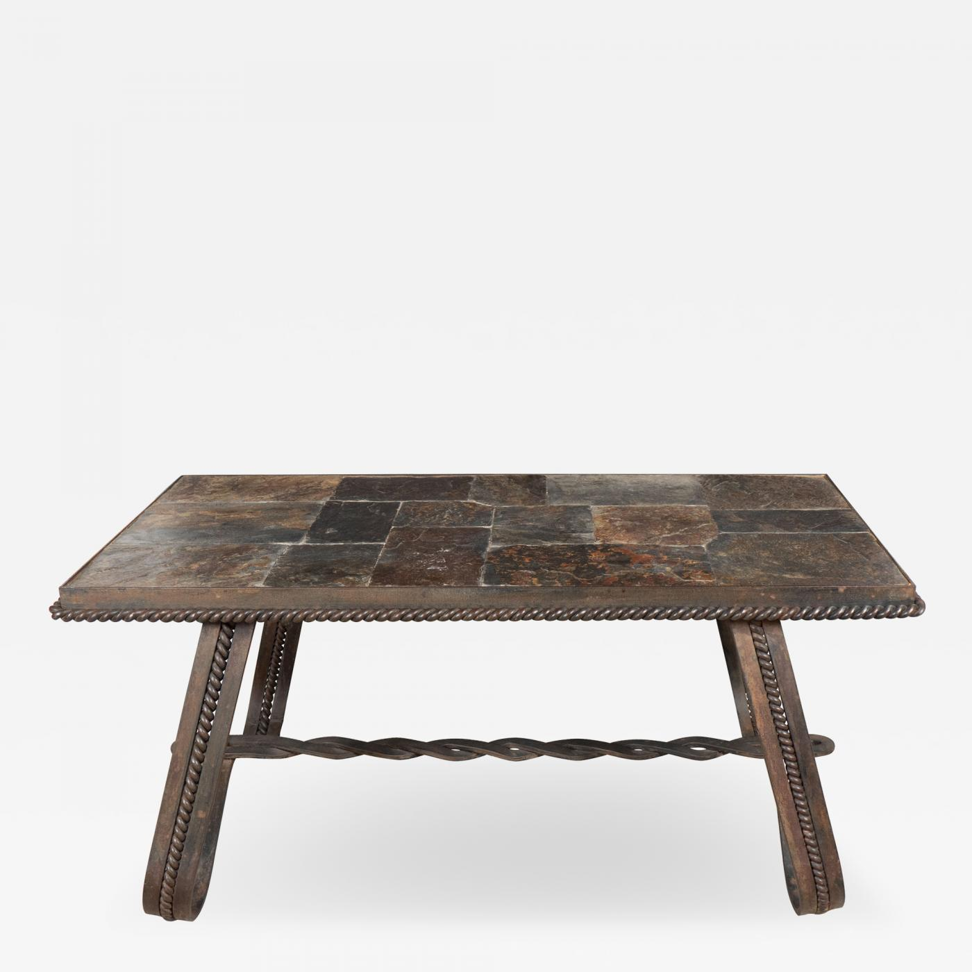 French wrought iron and tiled stone rectangular coffee table for Stone and iron coffee table