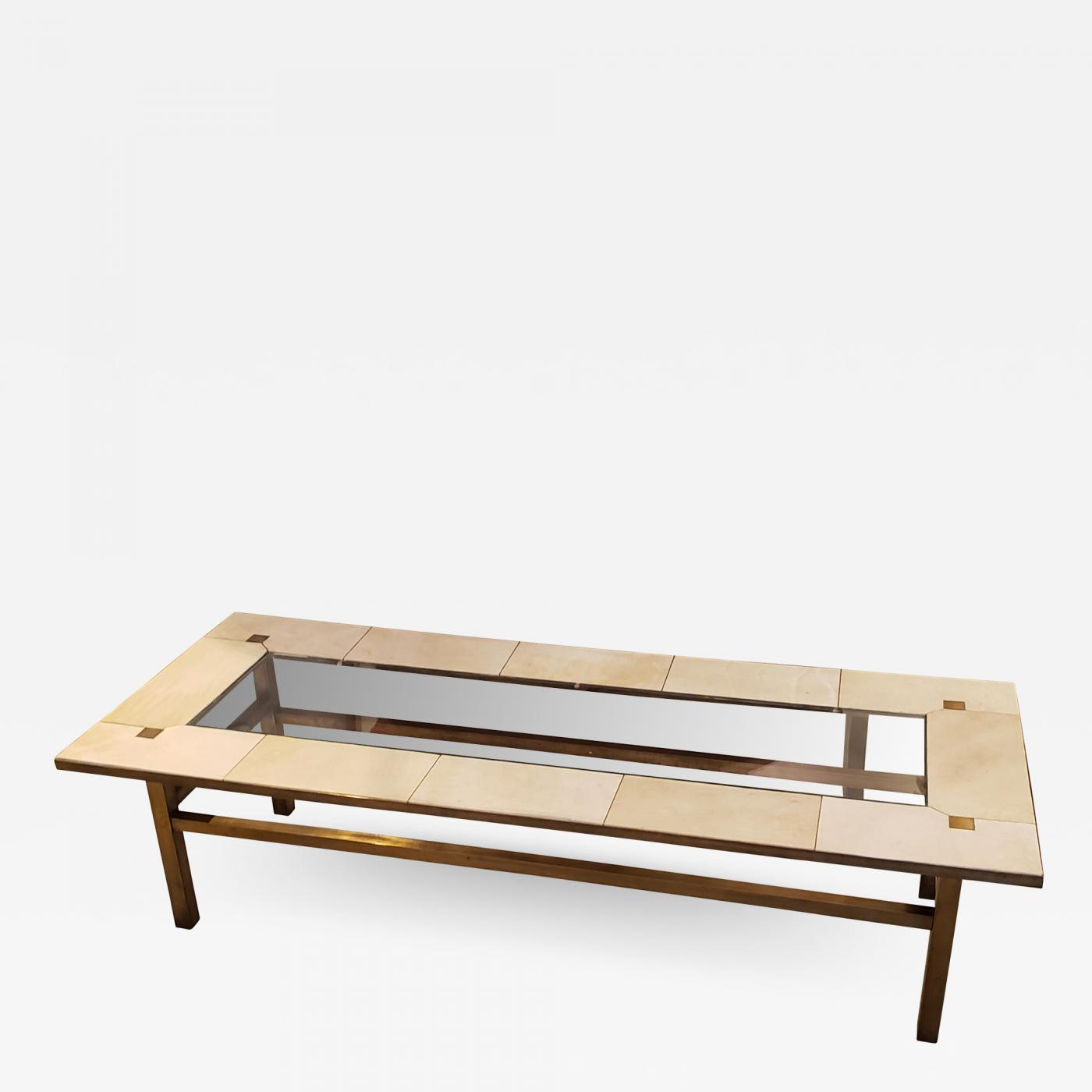 Picture of: French Mid Century Brass Coffee Table With Parchment Top