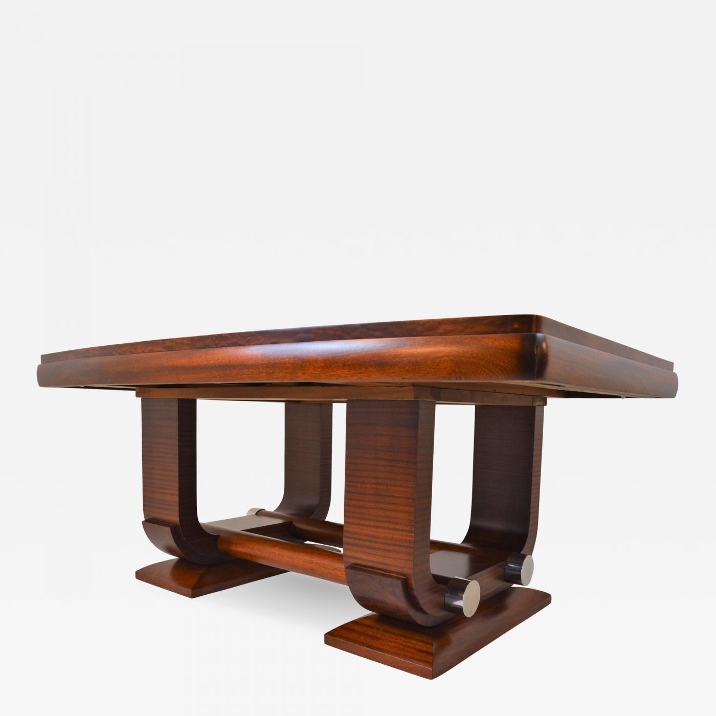 Gaston Poisson - Fabulous Gaston Poisson Art Deco Dining Room Table in  Mahogany, 1930