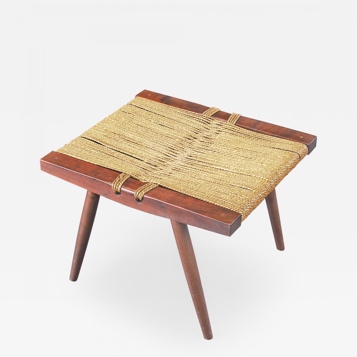 George Nakashima Grass seated Stool by George Nakashima