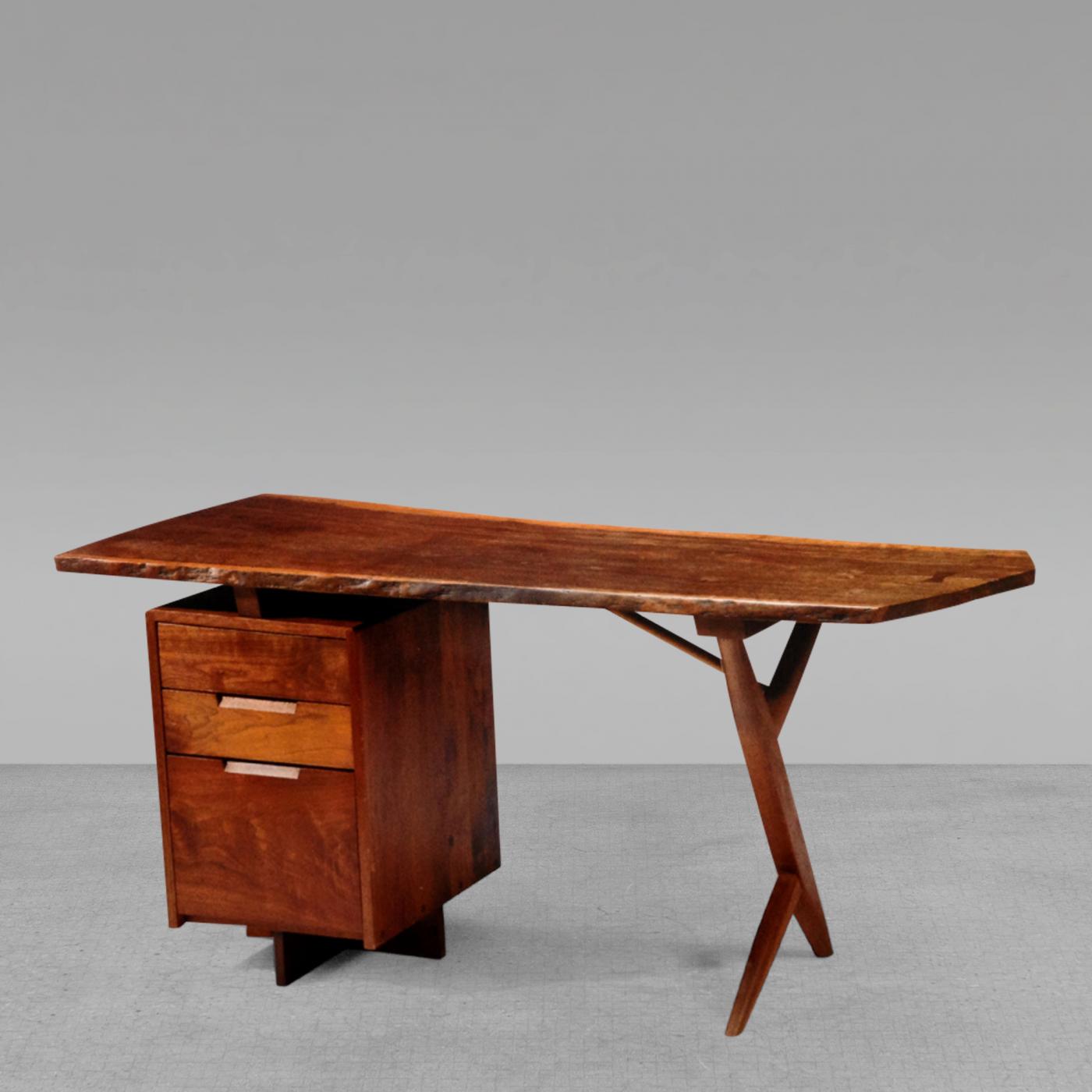 Finest George Nakashima - Rare Walnut and Laurel Wood Cross Legged Desk  SI03