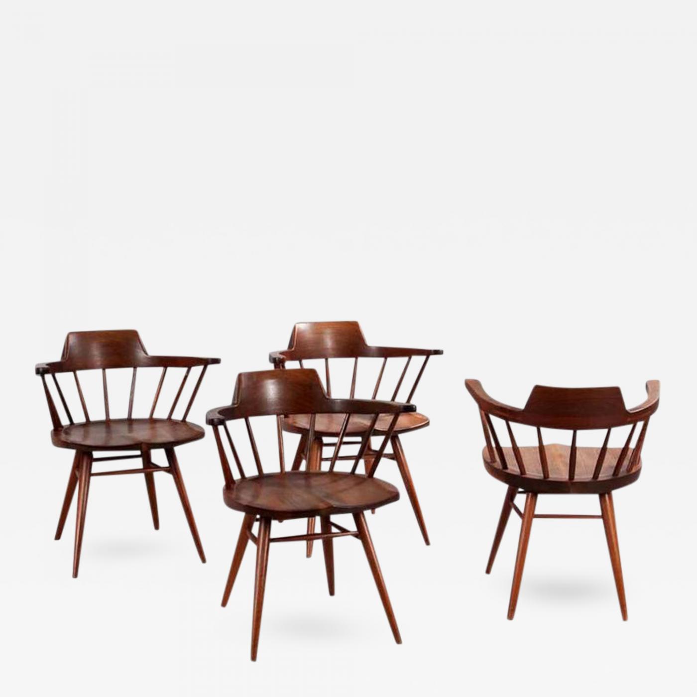 George Nakashima Set of Four Captain Chairs by George Nakashima