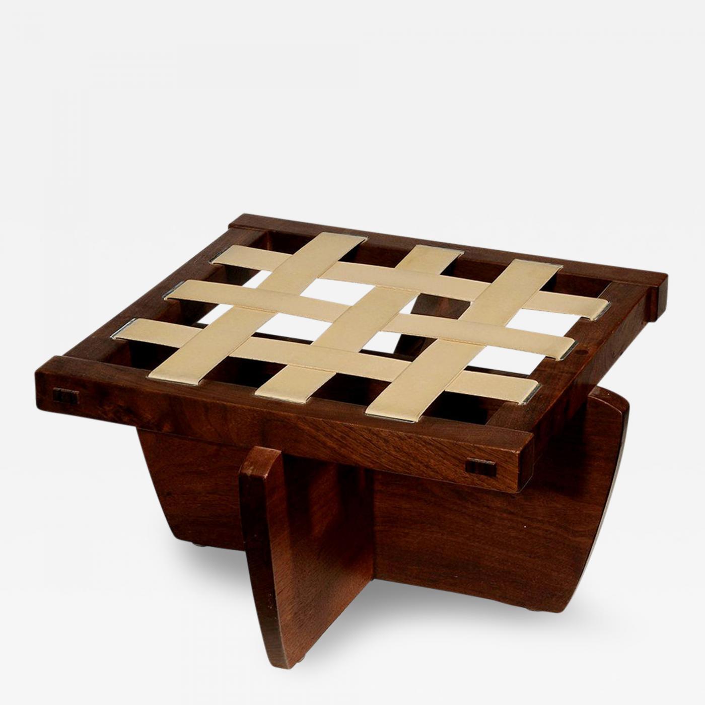 george nakashima walnut greenrock stool or bench with cushion by