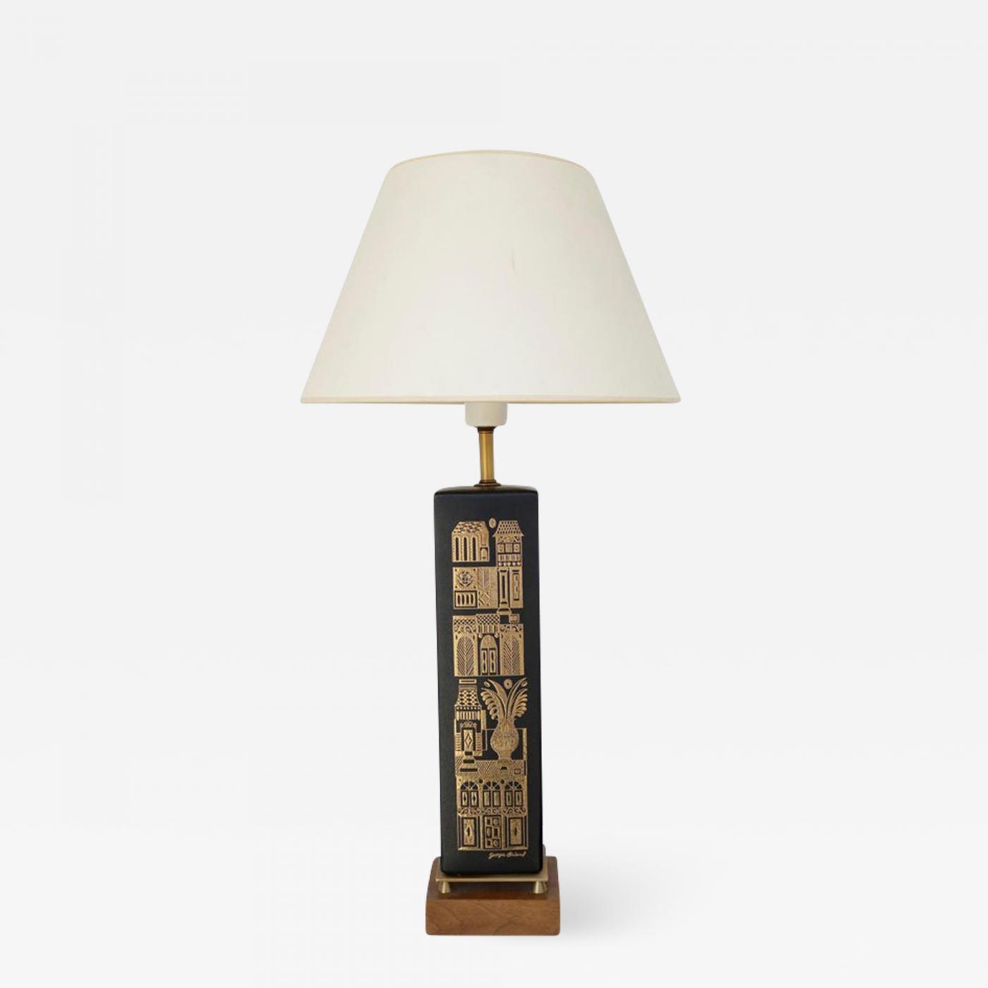 George Briard 1960s Black And Gold Ceramic Table Lamp