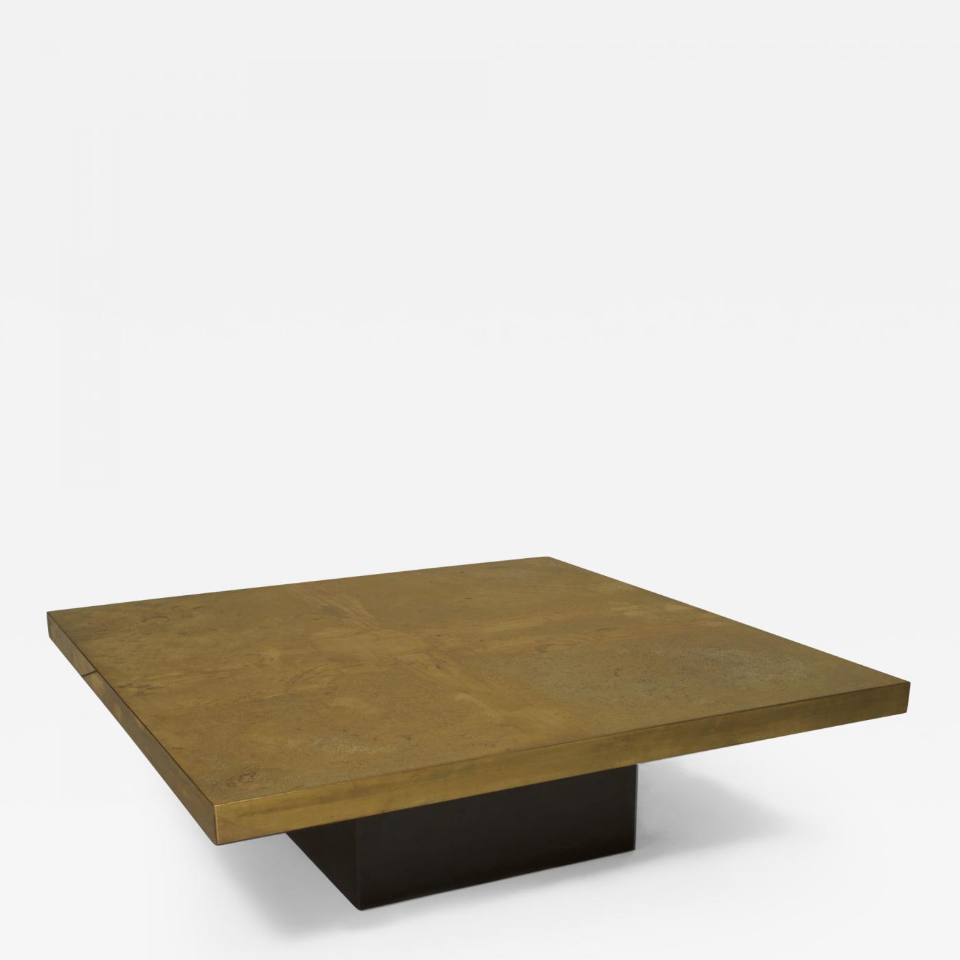 Belgian Post War Design 1970s Square Brass Coffee Table