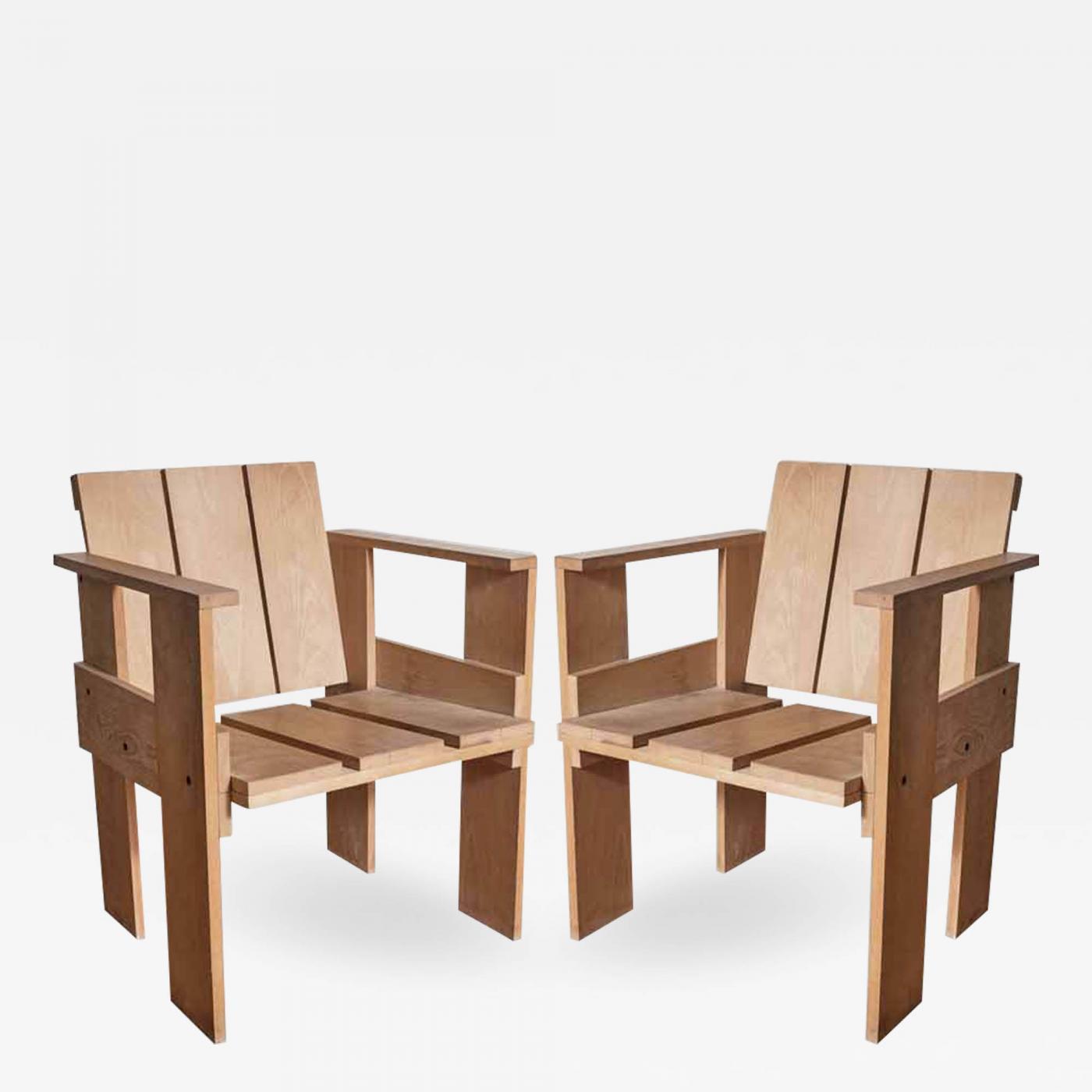 Marvelous Gerrit Rietveld Pair Gerrit Rietveld Crate Chairs Cassina Stamped Italy 1970 Download Free Architecture Designs Scobabritishbridgeorg