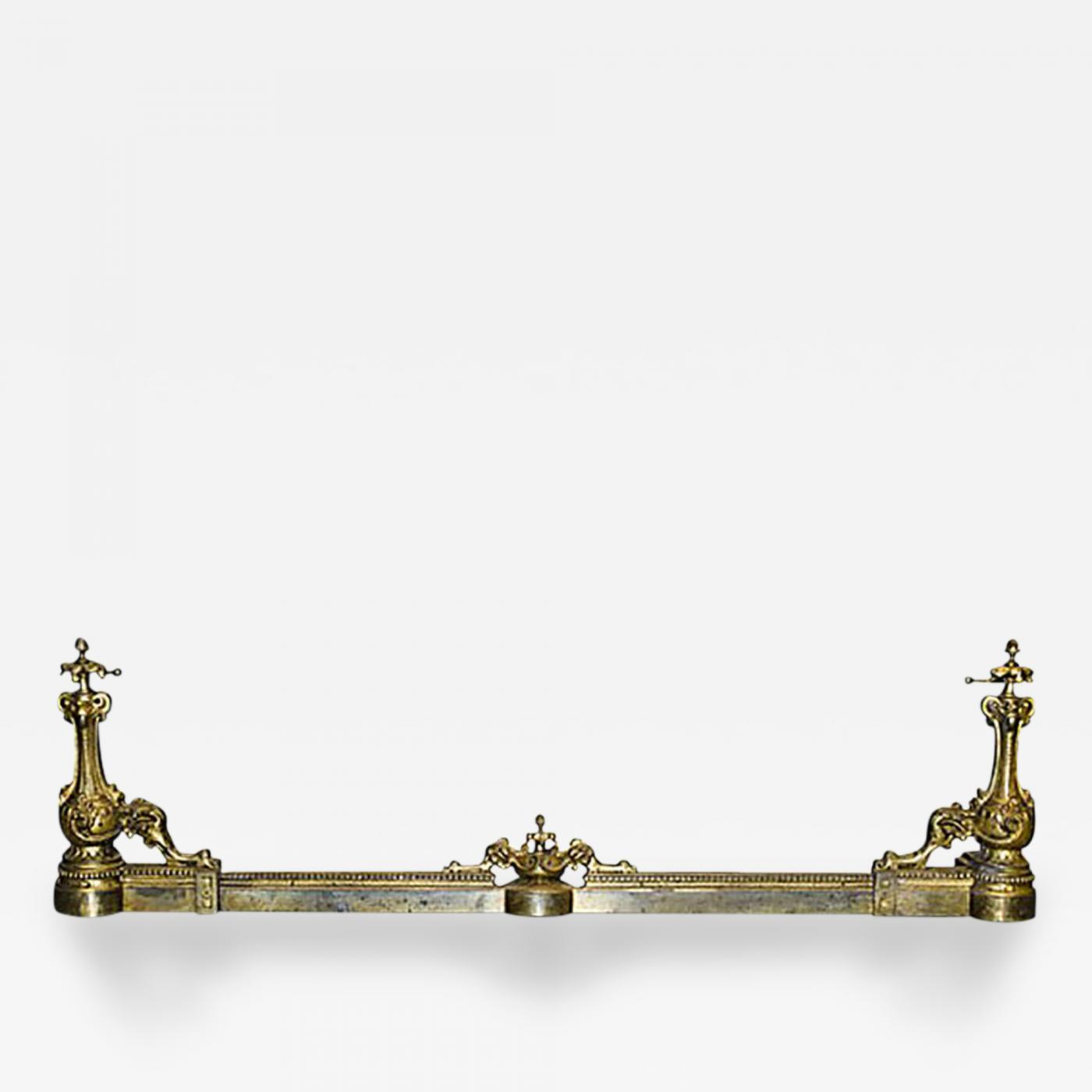 Gilt Brass Fireplace Fender In The Rococo Revival Louis Xvi Style
