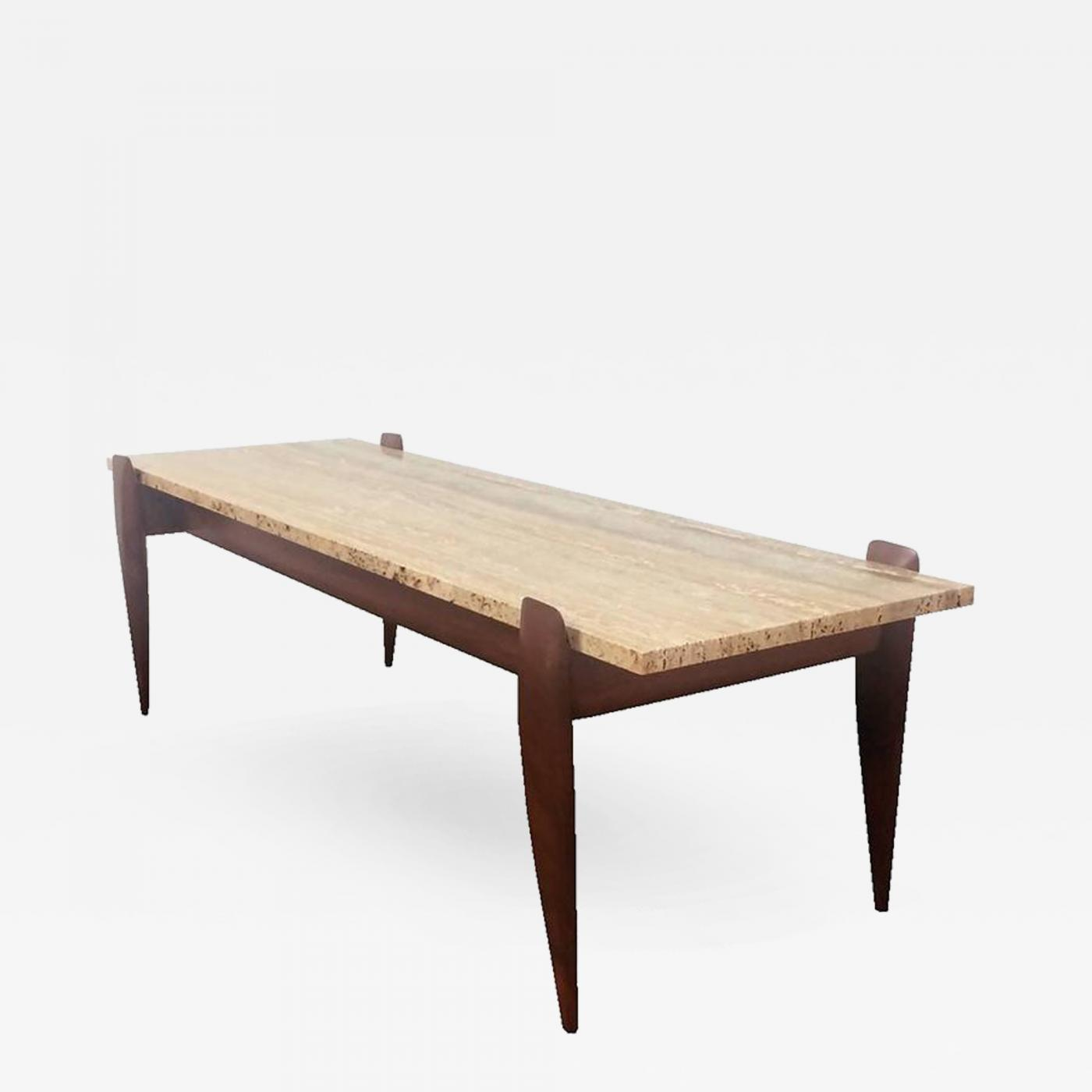 Gio Ponti Gio Ponti for M Singer & Sons Walnut and Travertine