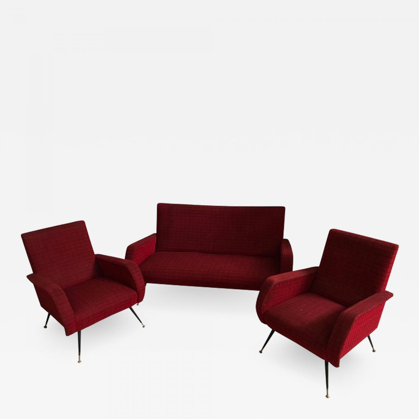 Gio Ponti - Mid-Century Modern Red fabric Sofa and Armchairs, Italy, circa  1950