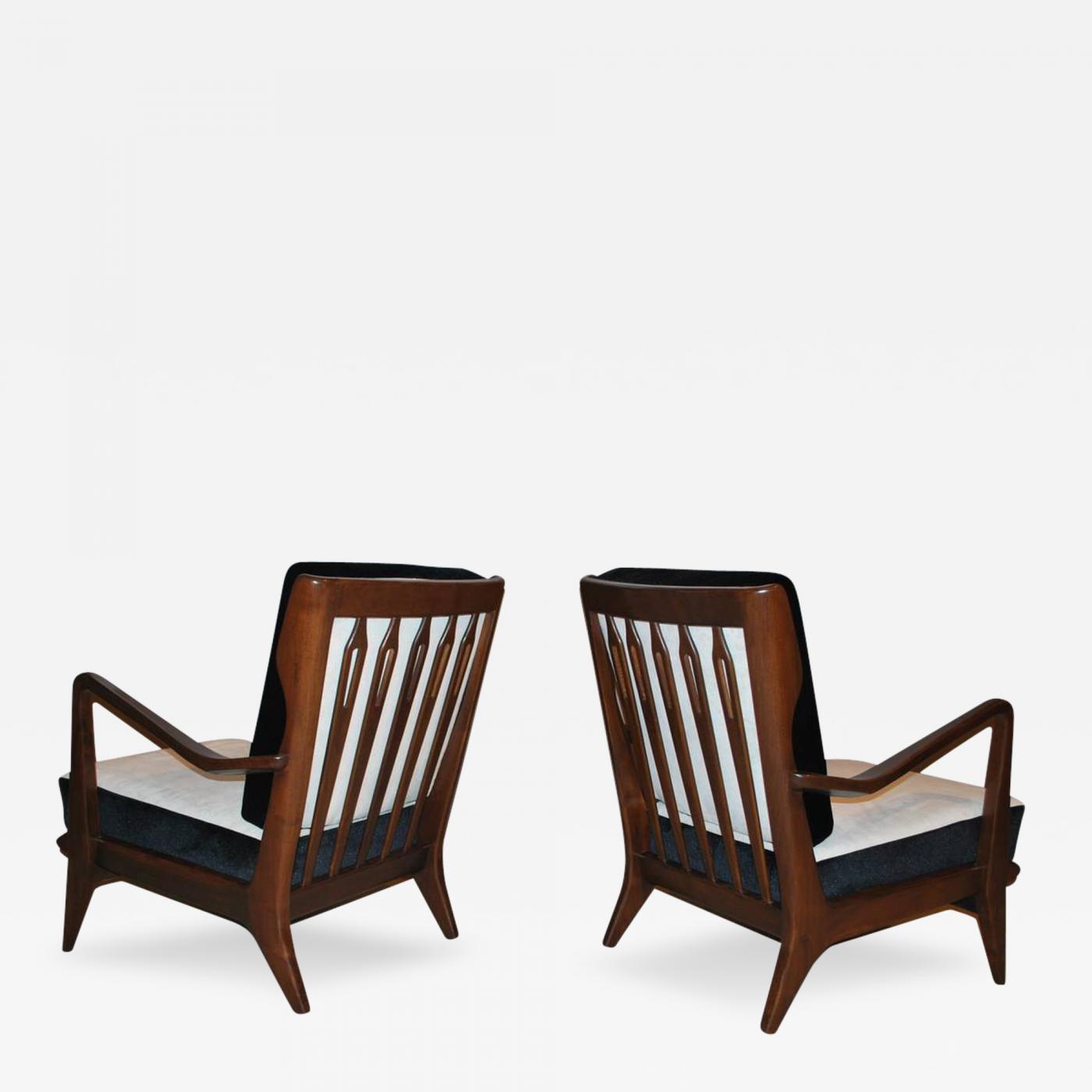 gio ponti pair of gio ponti walnut lounge chairs model 516