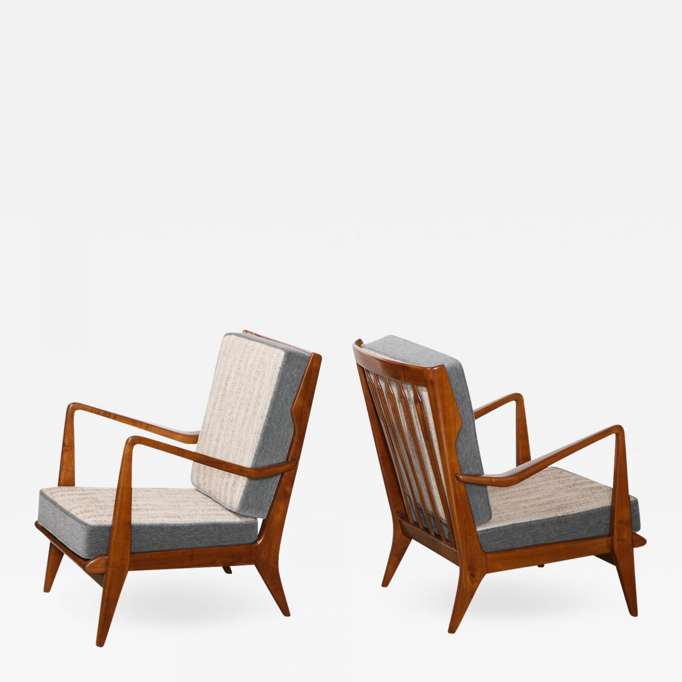 Rare Pair Of Open Arm Chairs By Gio Ponti For Cassina