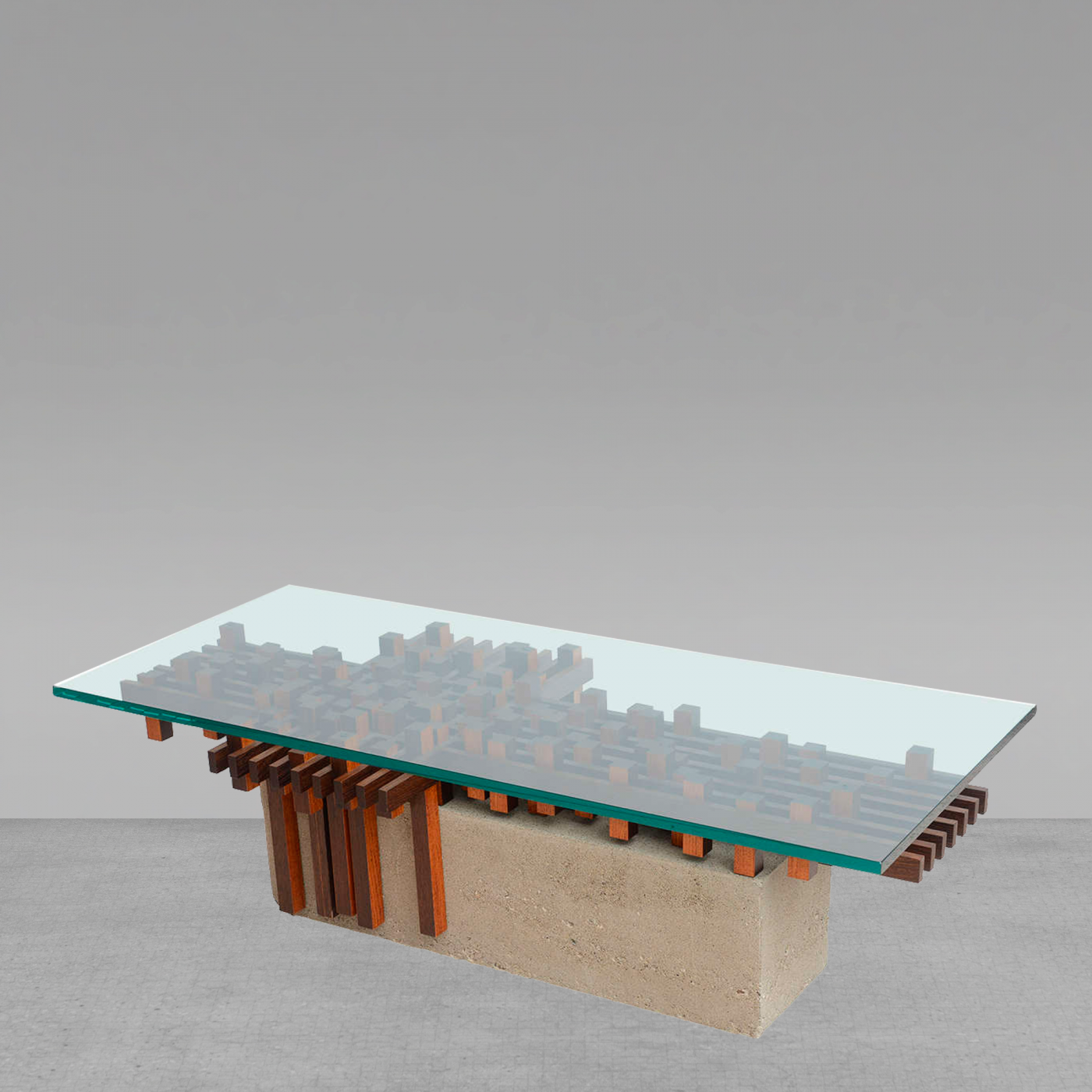 Giovanni Michelucci Italian Walnut And Concrete Glass Low Table - Concrete and glass coffee table
