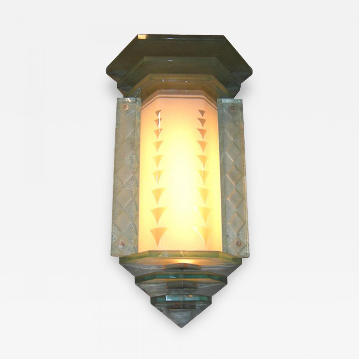 Glamorous Art Deco Glass Wall Lamp